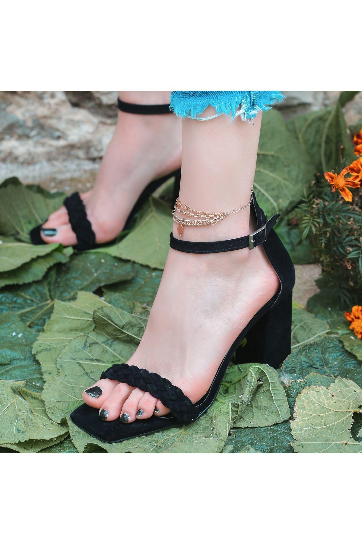 Niry Siyah Süet Topuklu Ayakkabı