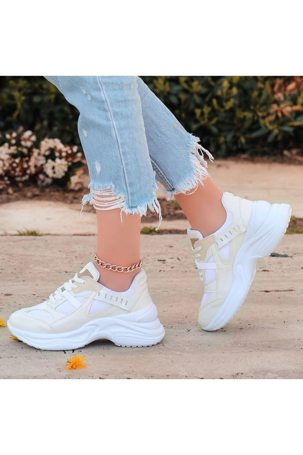 Feym Beyaz Cilt Bağcıklı Spor Ayakkabı