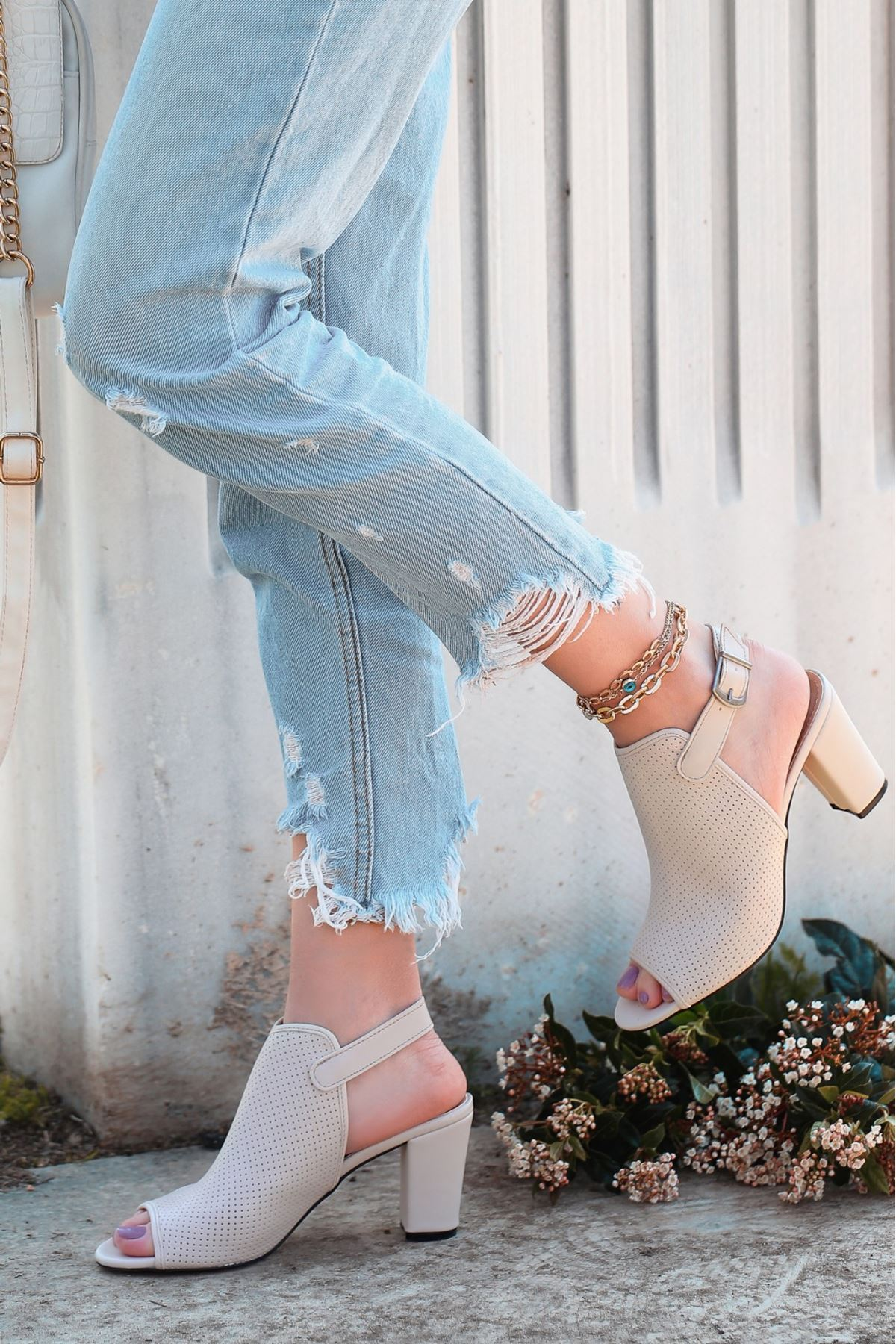 Mario Ten Cilt Fileli Topuklu Ayakkabı