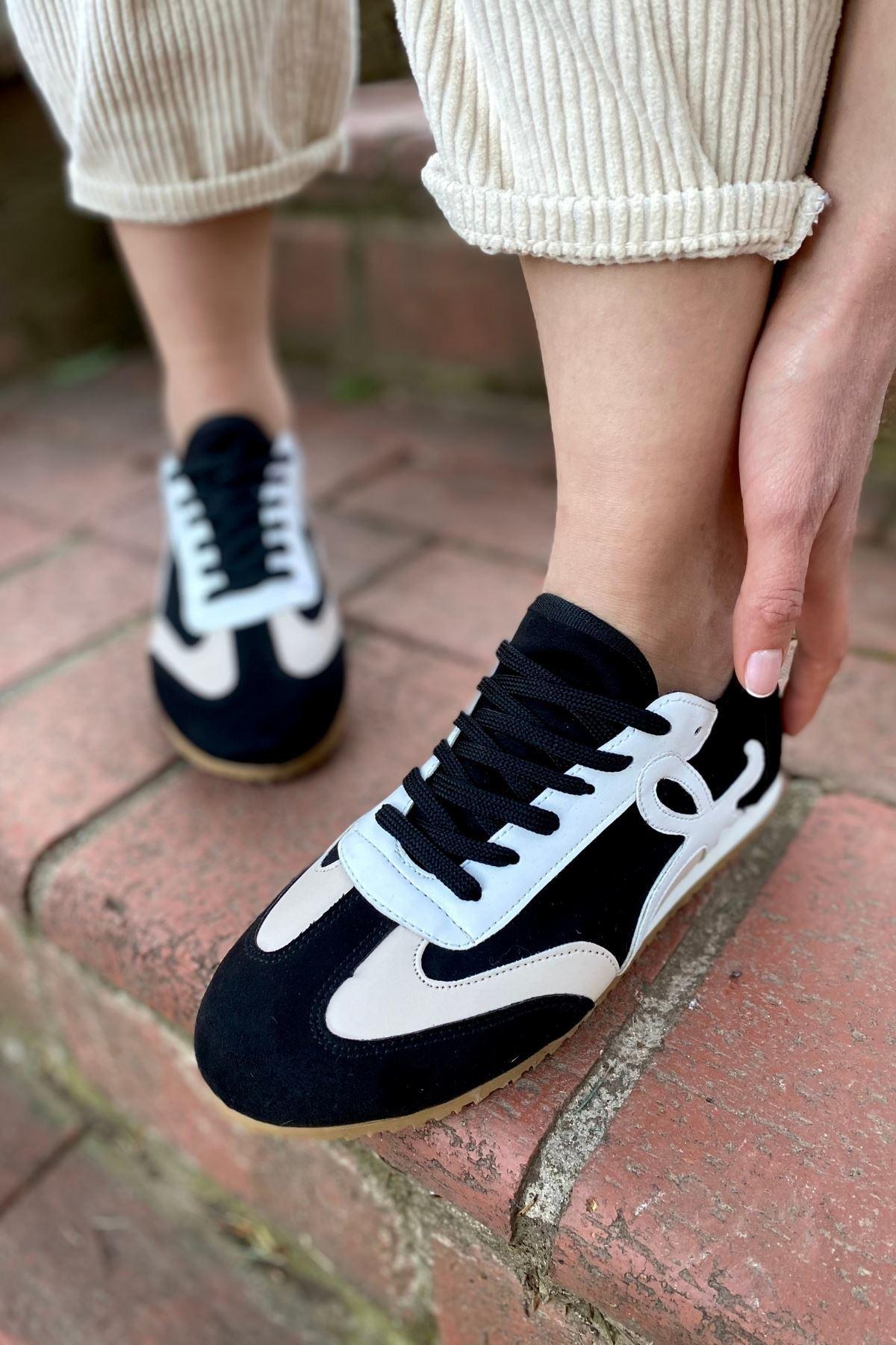 Dekon Siyah Süet Garnili Sneaker