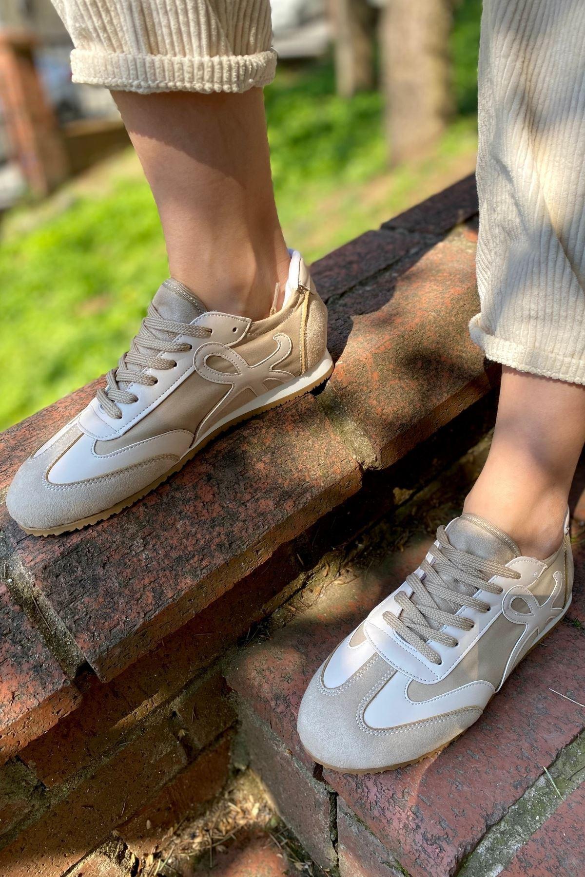 Dekon Bej Süet Garnili Sneaker