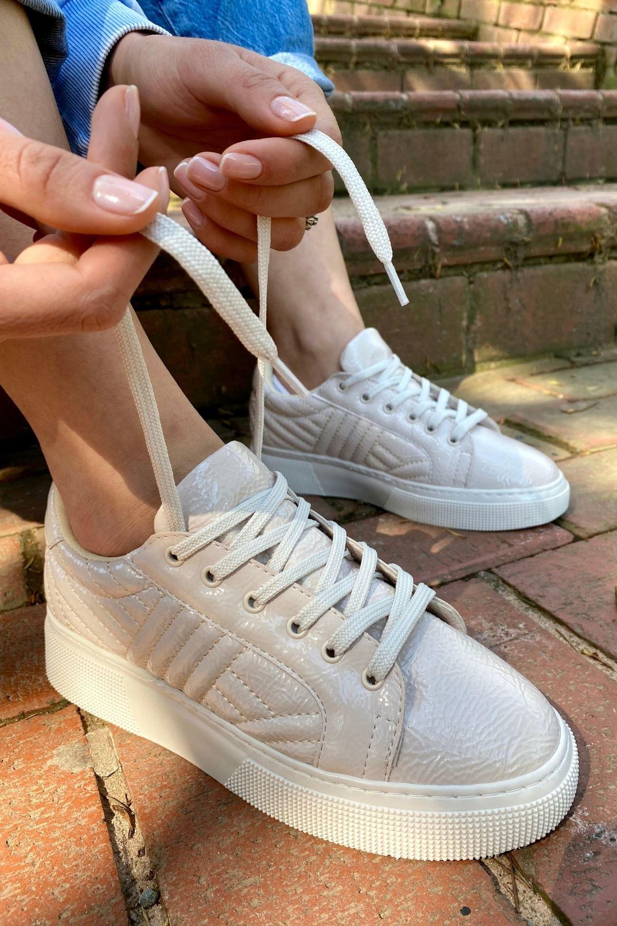 Forte Nude Rugan Kırışık Kapitone Sneaker
