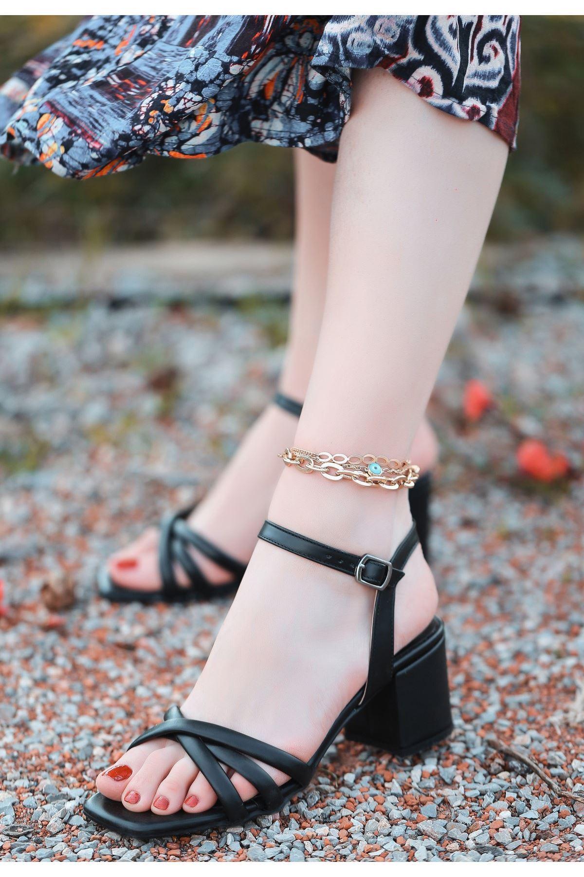 Ciani Siyah Cilt Topuklu Ayakkabı