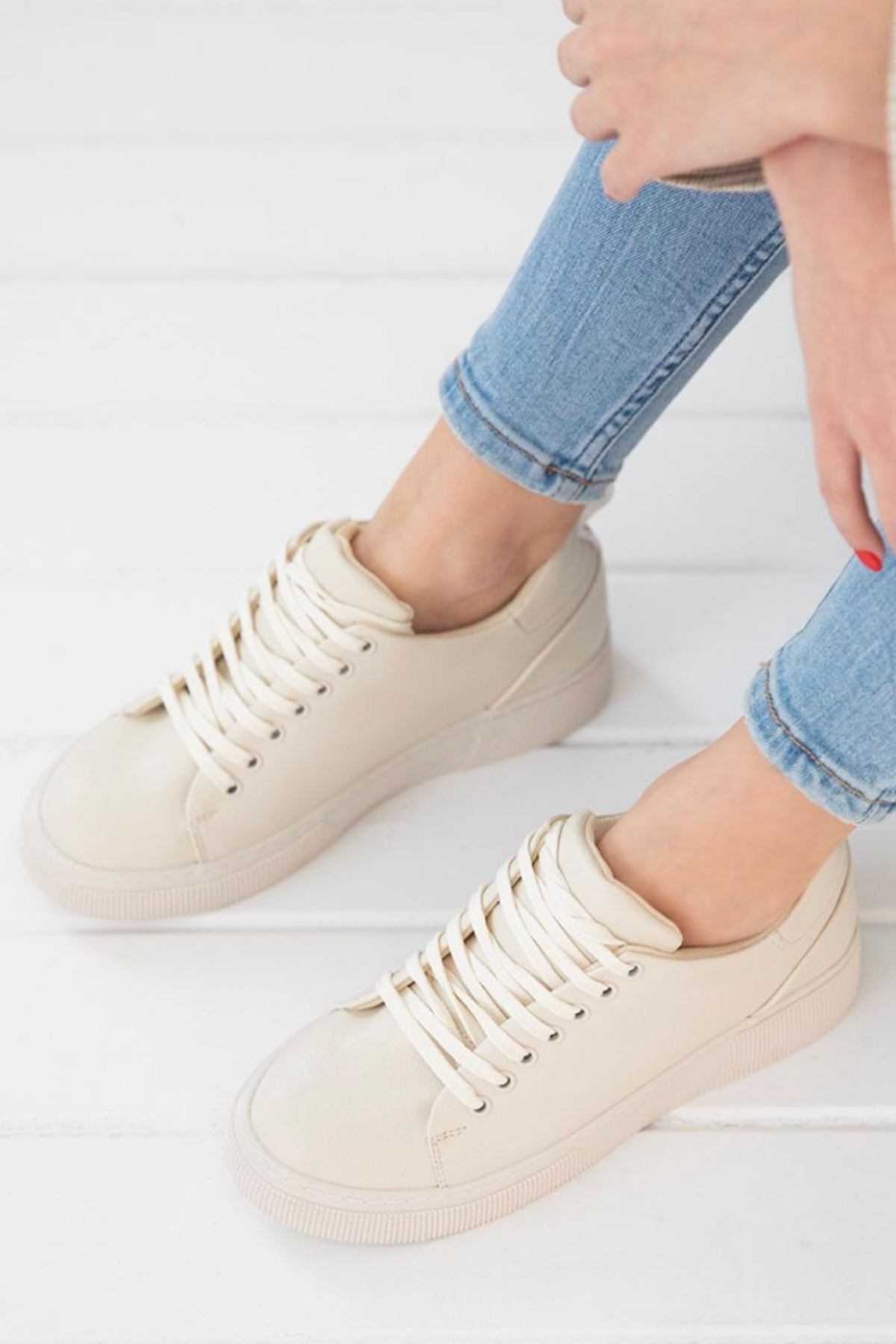 Fengi Bej Cilt Sneaker