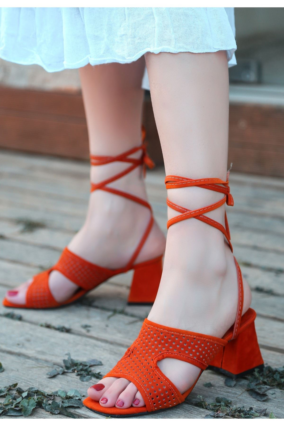 Lird Turuncu Süet Topuklu Ayakkabı