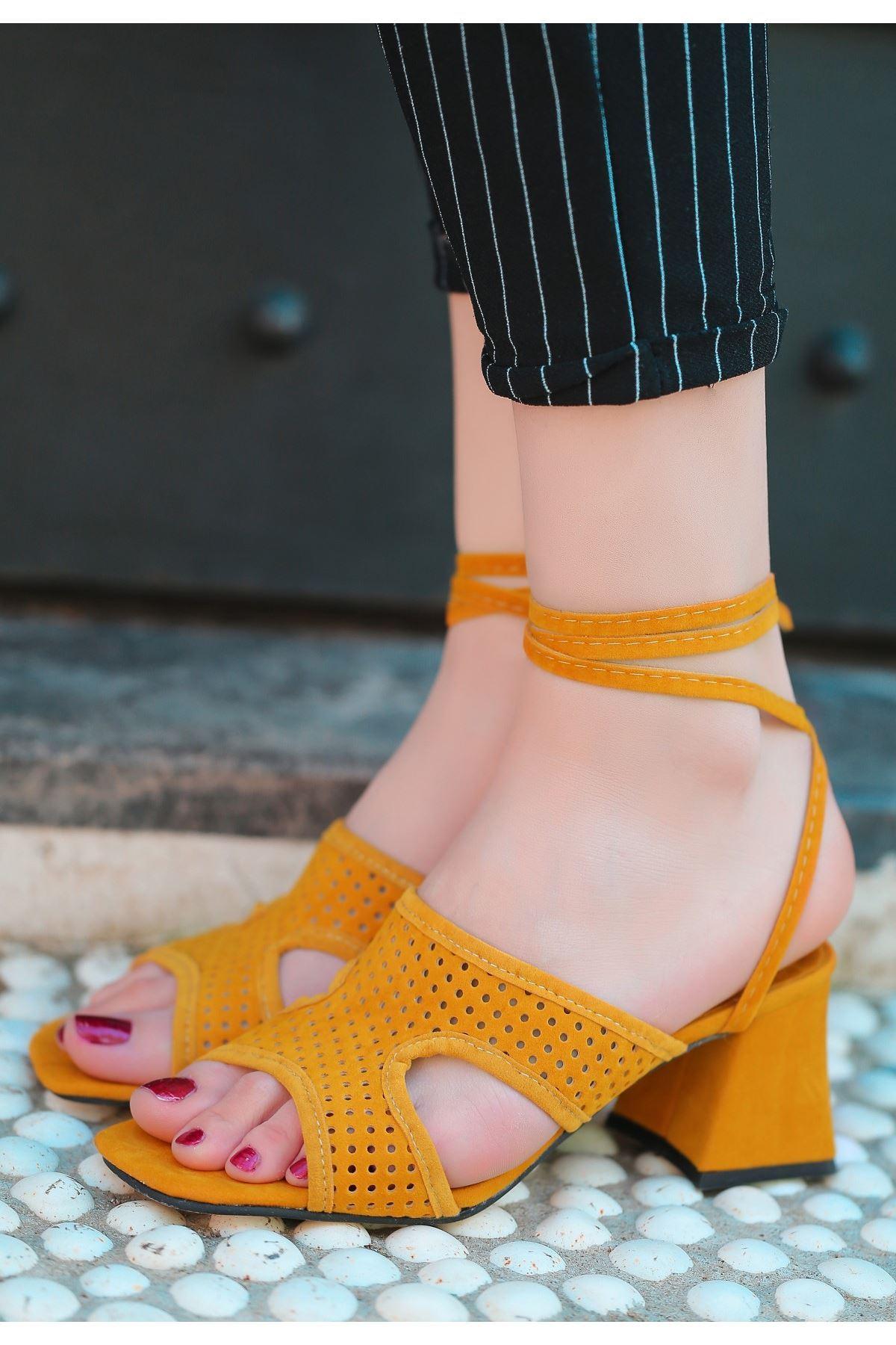 Lird Hardal Süet Topuklu Ayakkabı