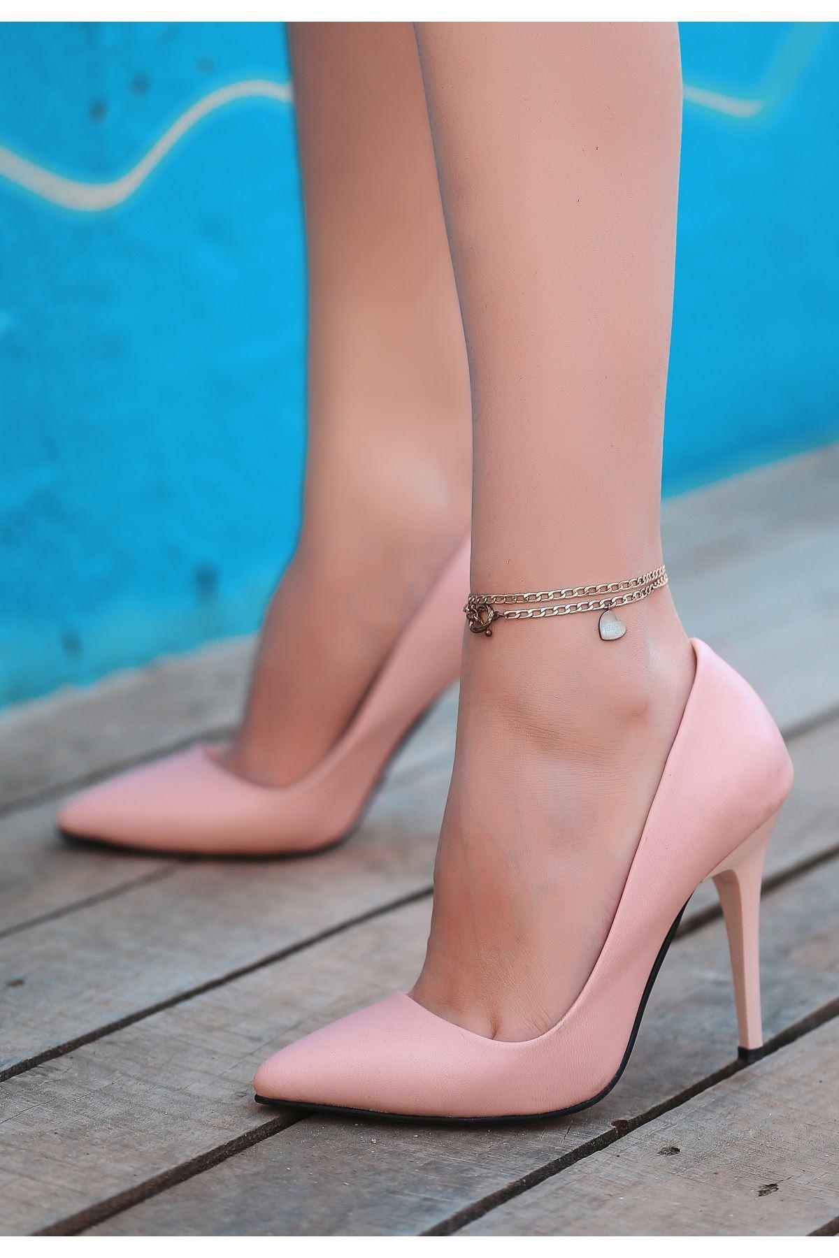 Reme Pudra Cilt Stiletto Ayakkabı