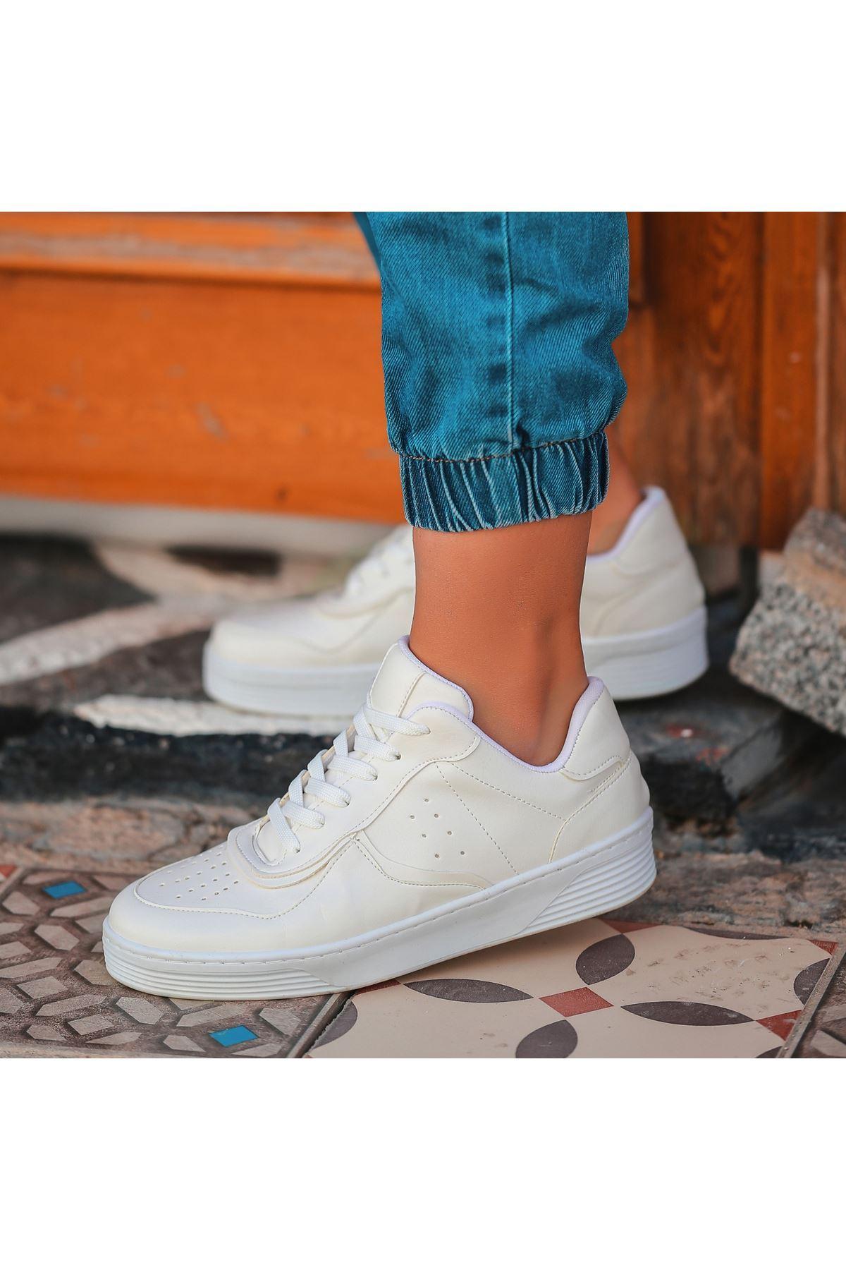 Cixi Beyaz Cilt Bağcıklı Spor Ayakkabı