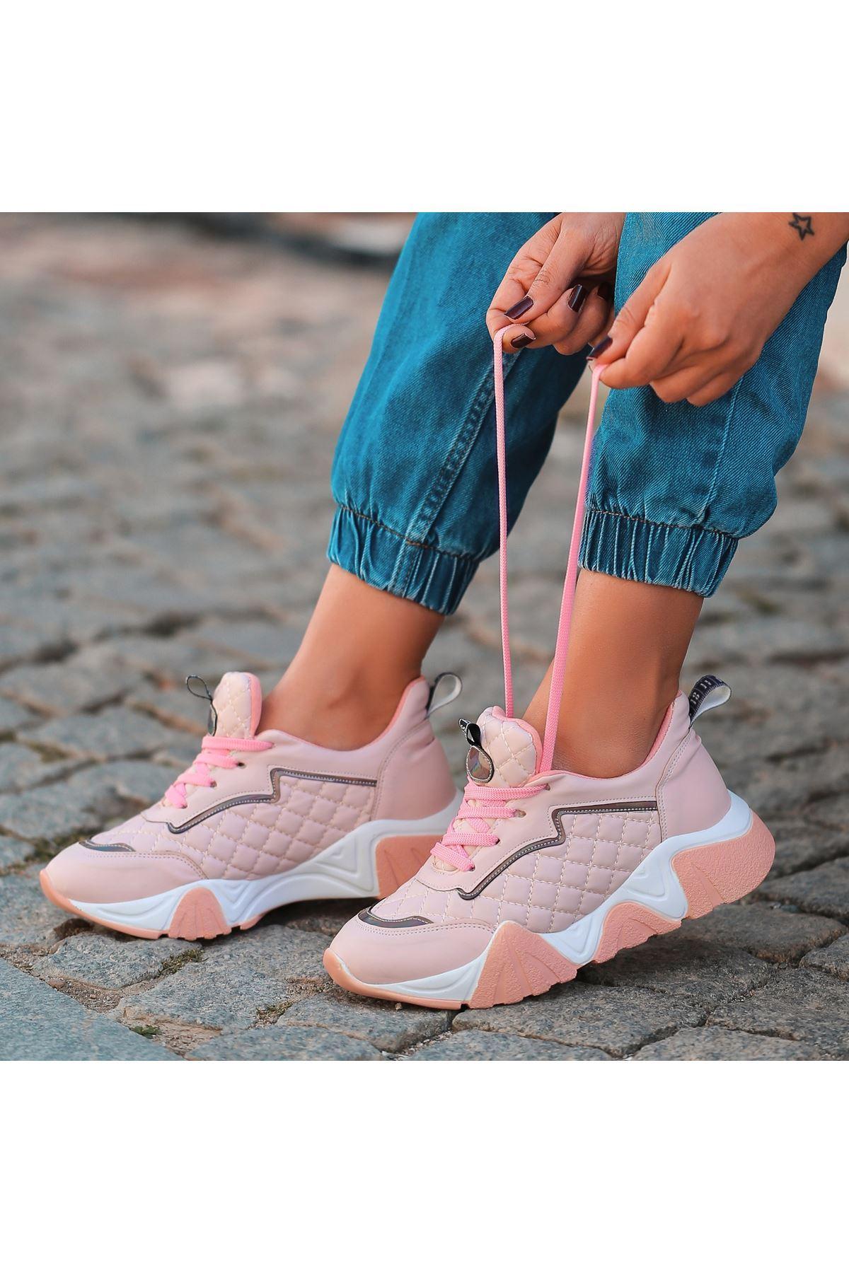 Arzi Pudra Cilt Bağcıklı Spor Ayakkabı