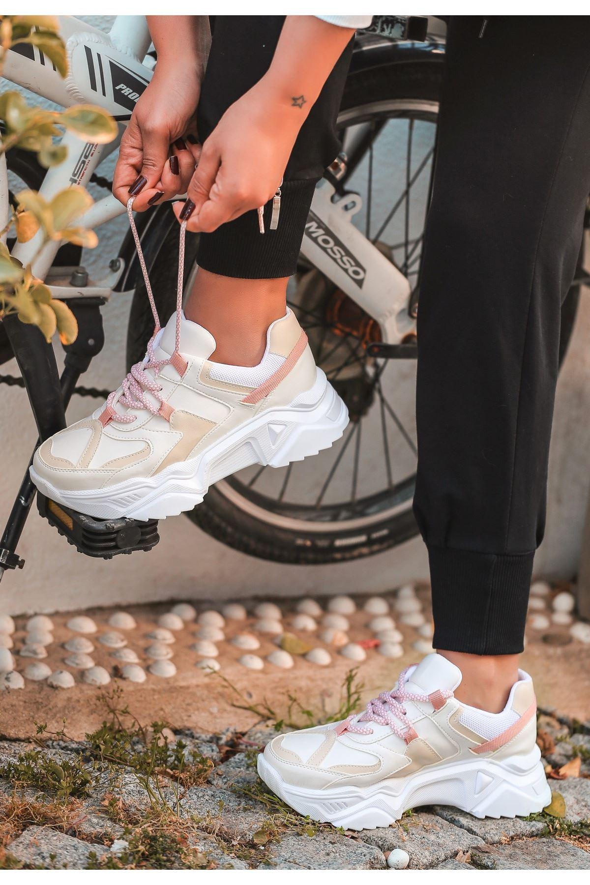 Leni Beyaz Cilt Pudra Detaylı Spor Ayakkabı