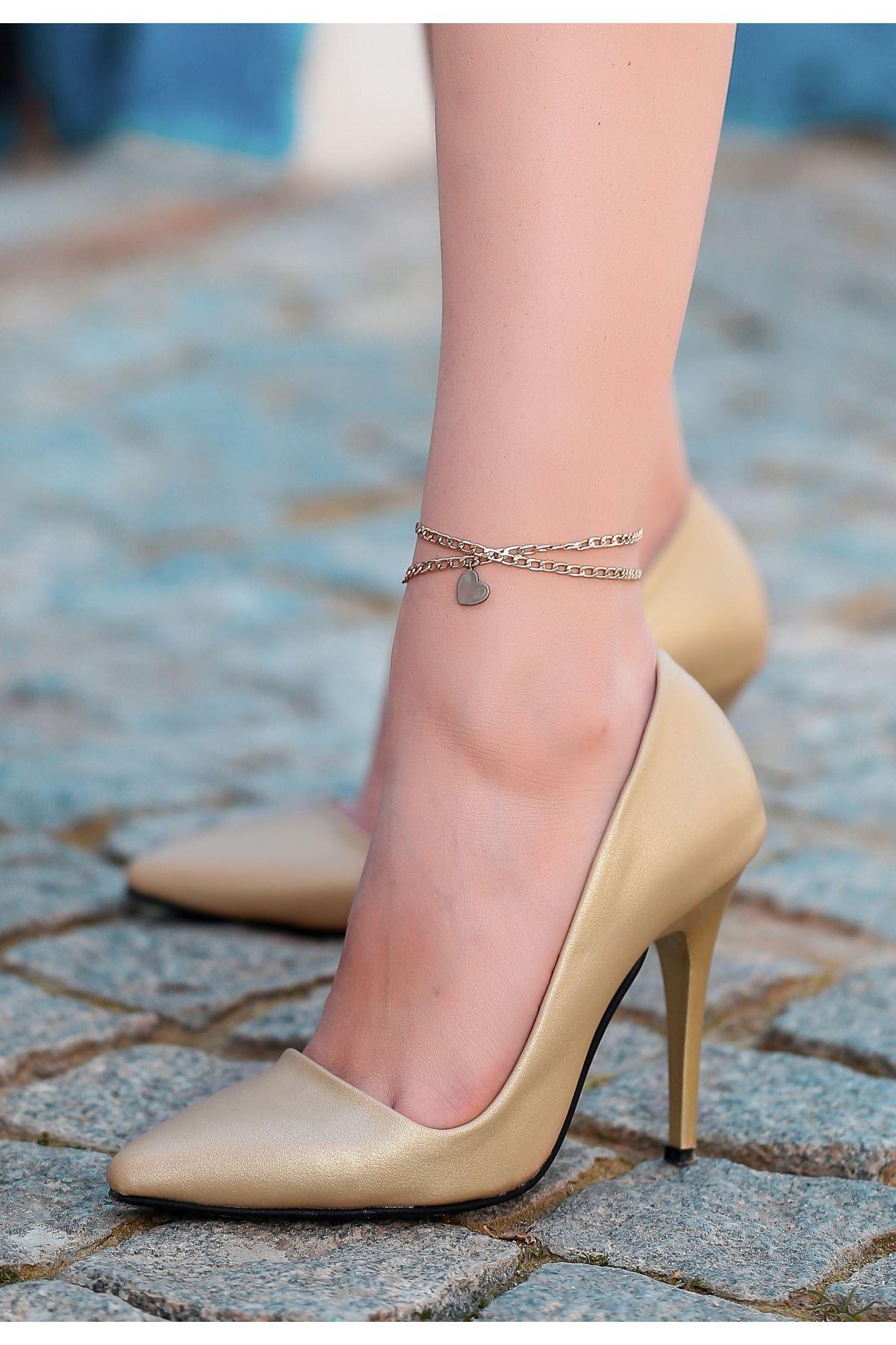 Reme Gold Cilt Stiletto Ayakkabı