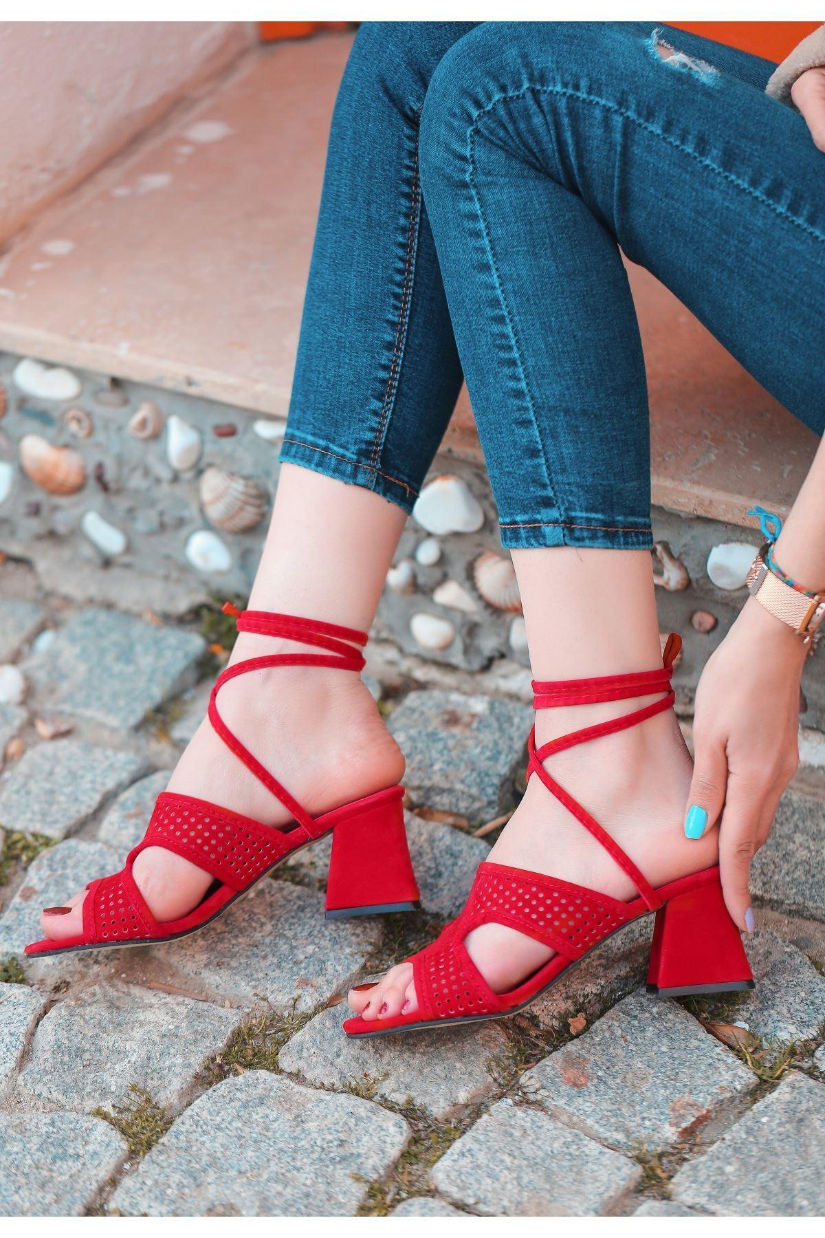Lird Kırmızı Süet Topuklu Ayakkabı