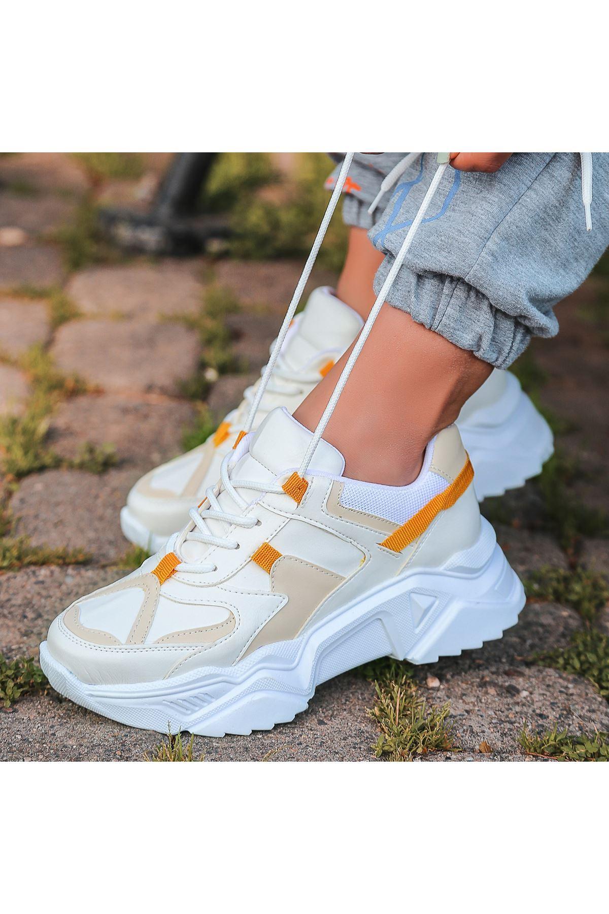 Leni Beyaz Cilt Hardal Detaylı Spor Ayakkabı