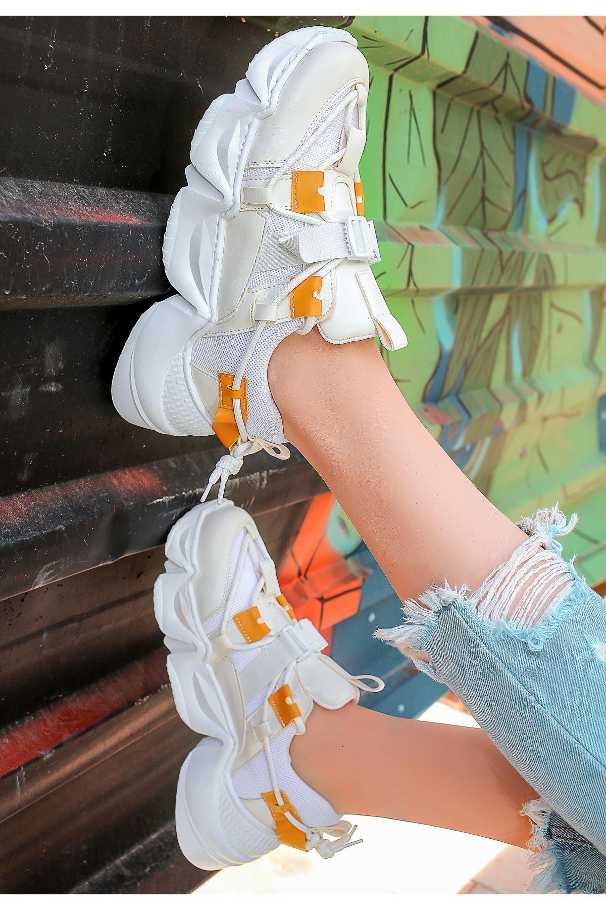 Maine Beyaz Cilt Hardal Detaylı Spor Ayakkabı