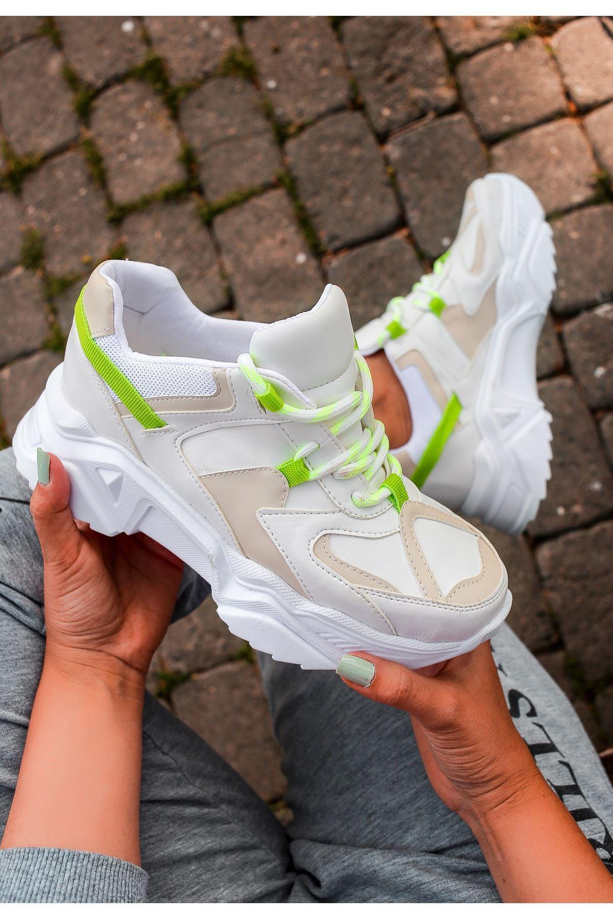 Leni Ten Cilt Yeşil Detaylı Spor Ayakkabı