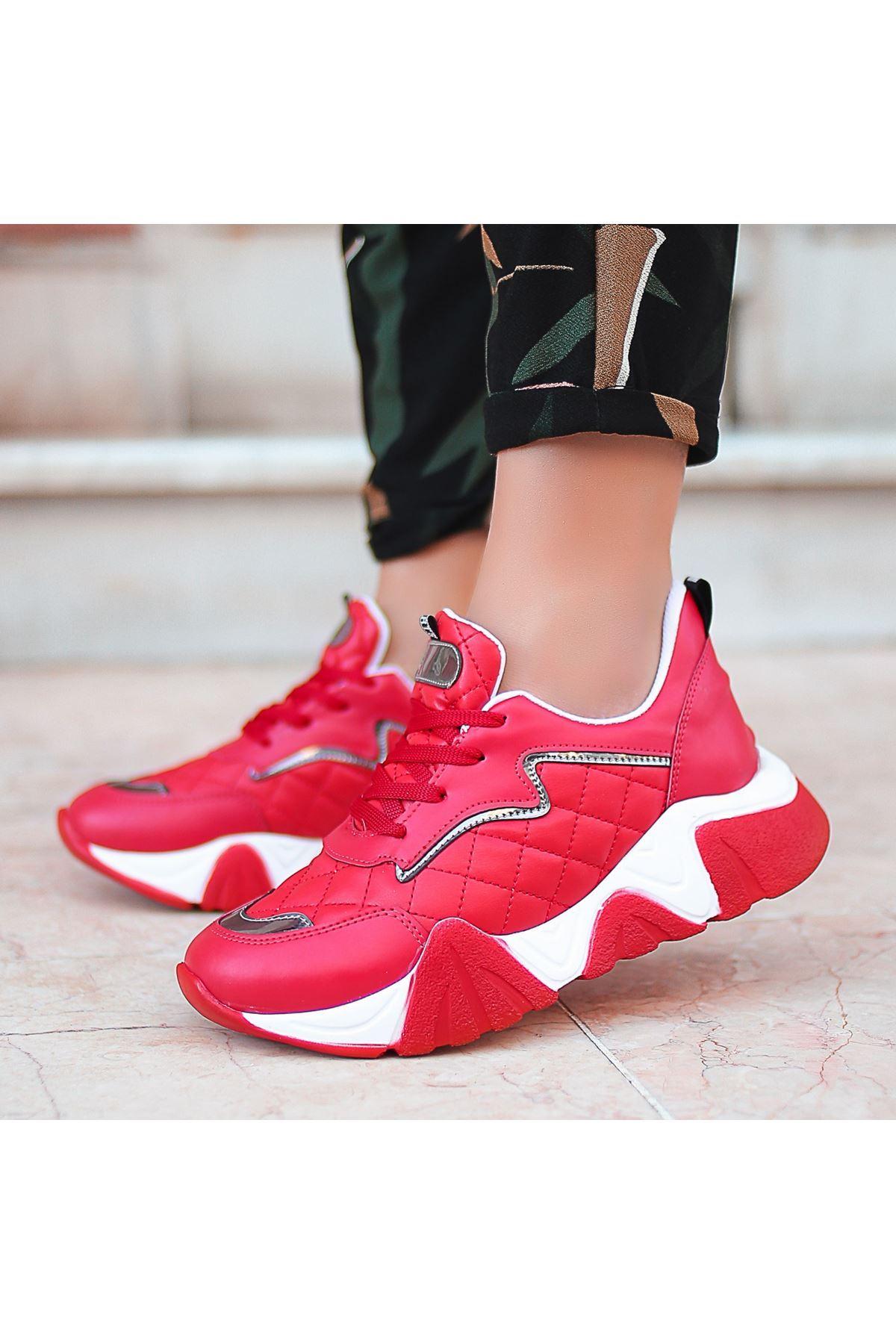 Renz Kırmızı Cilt Bağcıklı Spor Ayakkabı