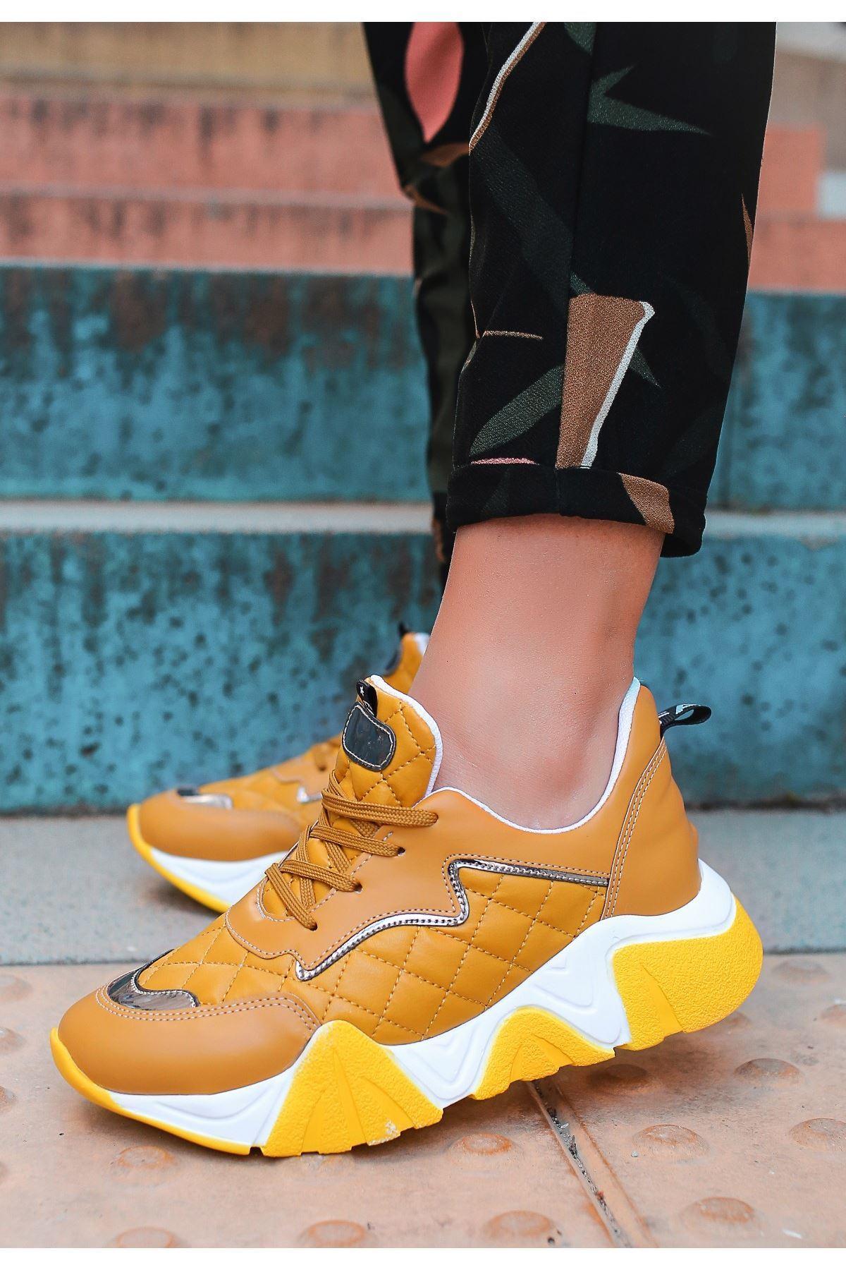 Renz Hardal Cilt Sarı Tabanlı Spor Ayakkabı