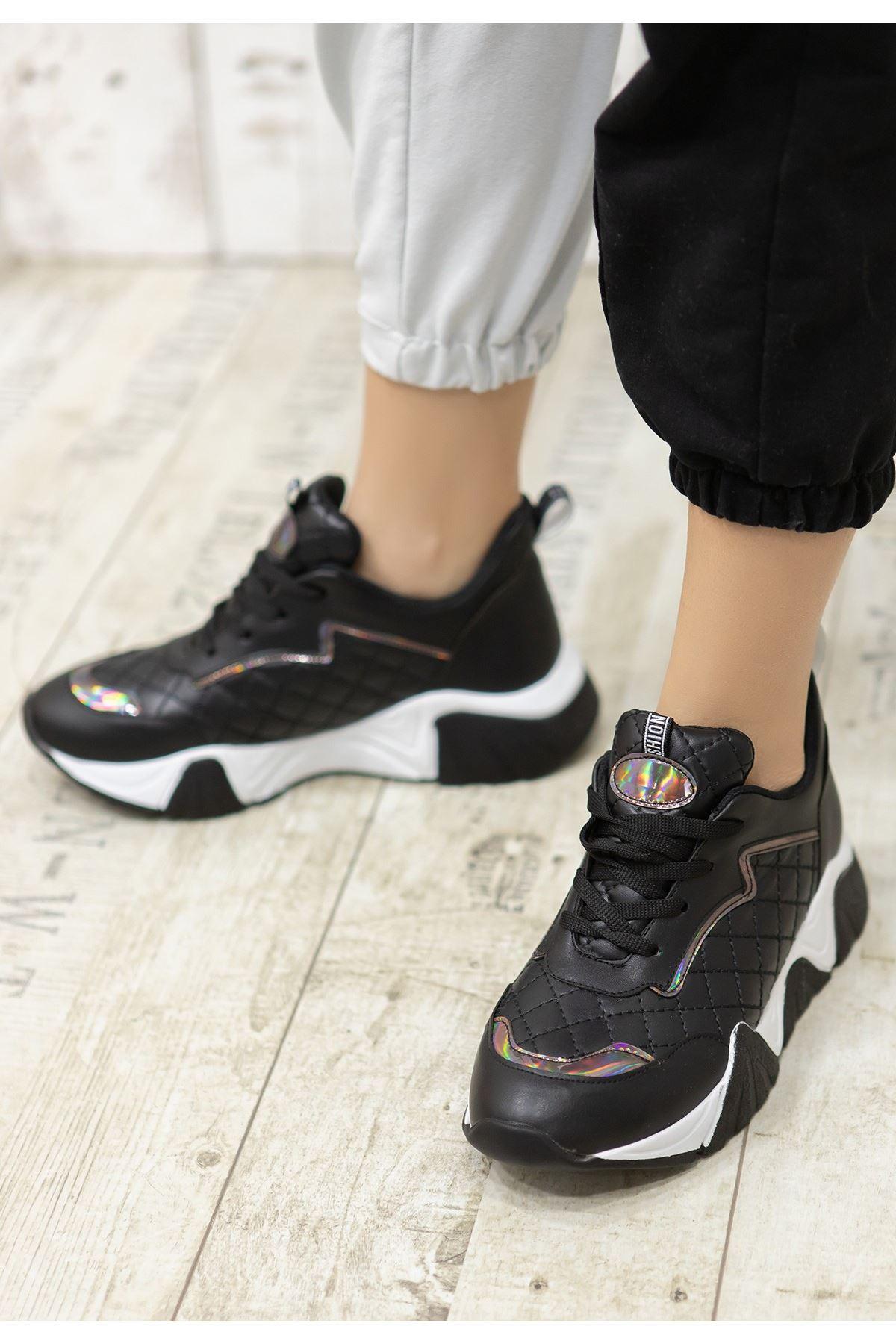 Faya Siyah Cilt Bağcıklı Ayakkabı