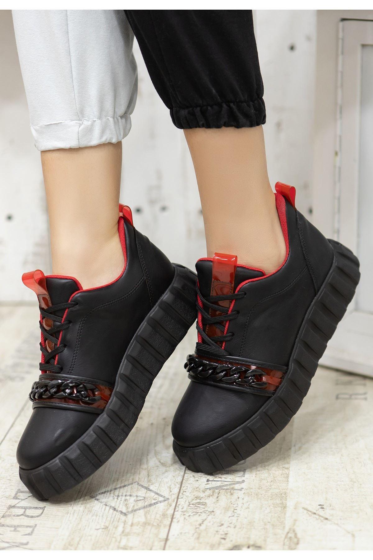 Mya Siyah Cilt Kırmızı Detaylı Bağcıklı Spor Ayakkabı