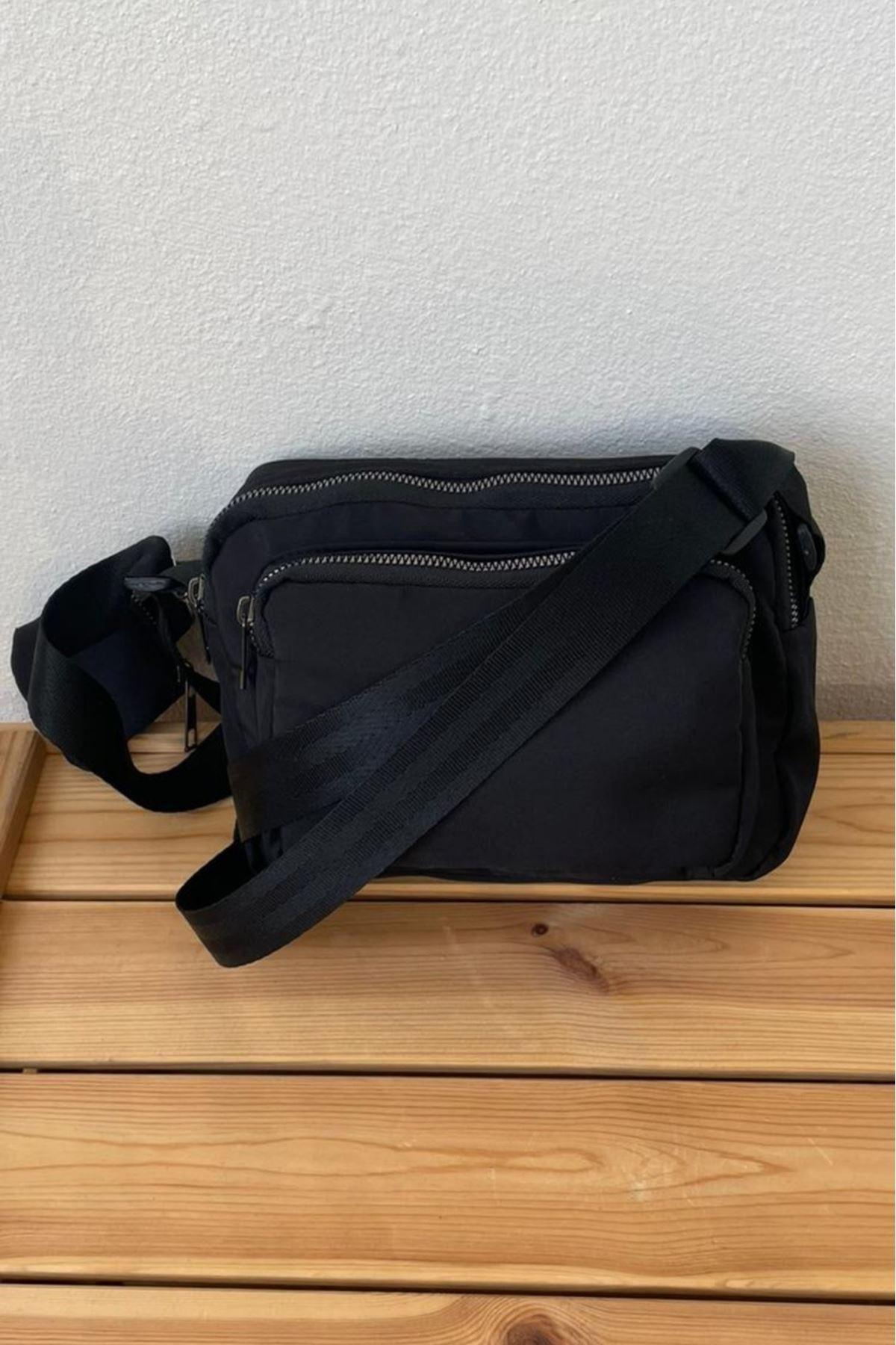 Horni Siyah Soft Kumaş Yatay Çapraz Çanta