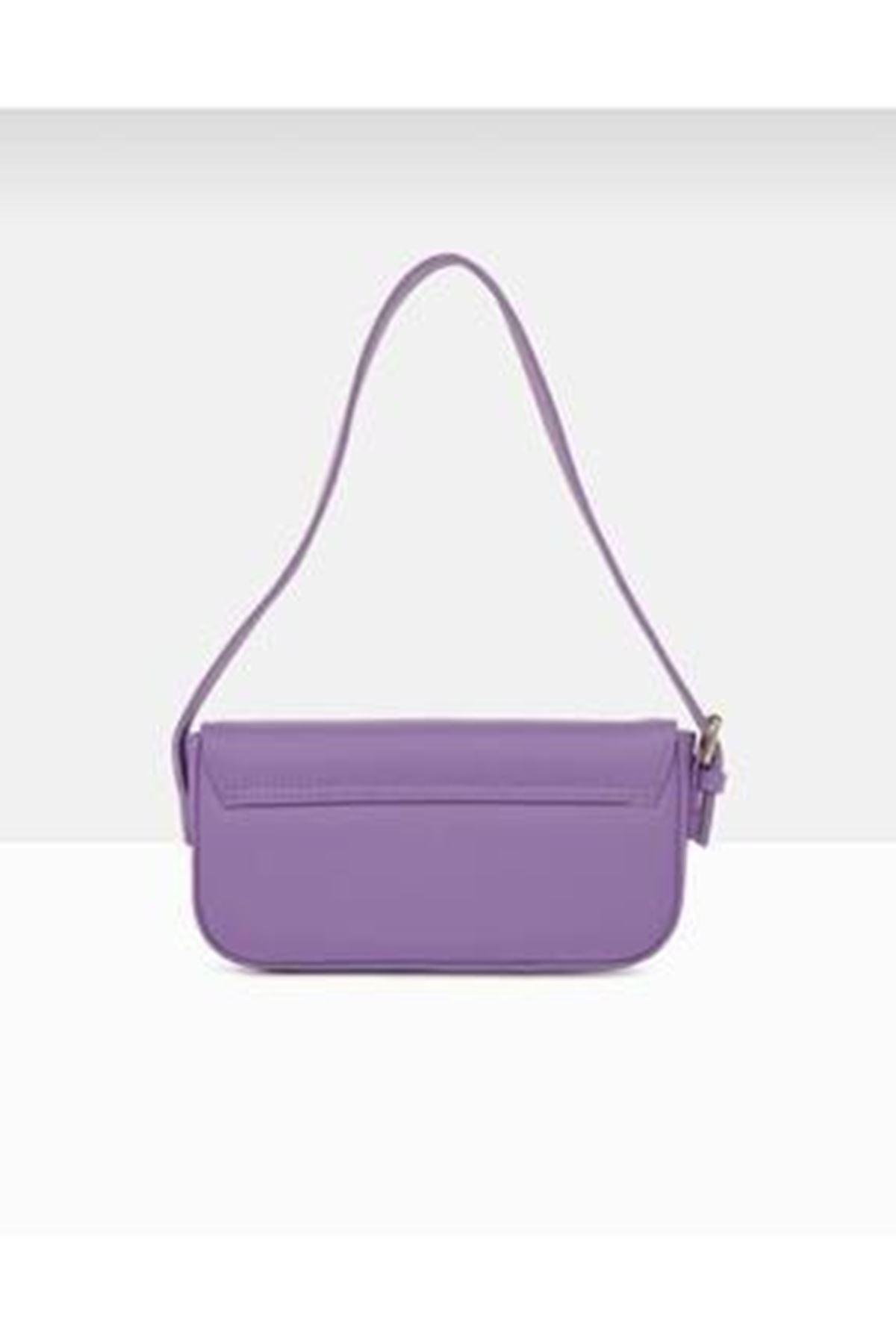 Tarta Lila Cilt Kapaklı Baget Çanta