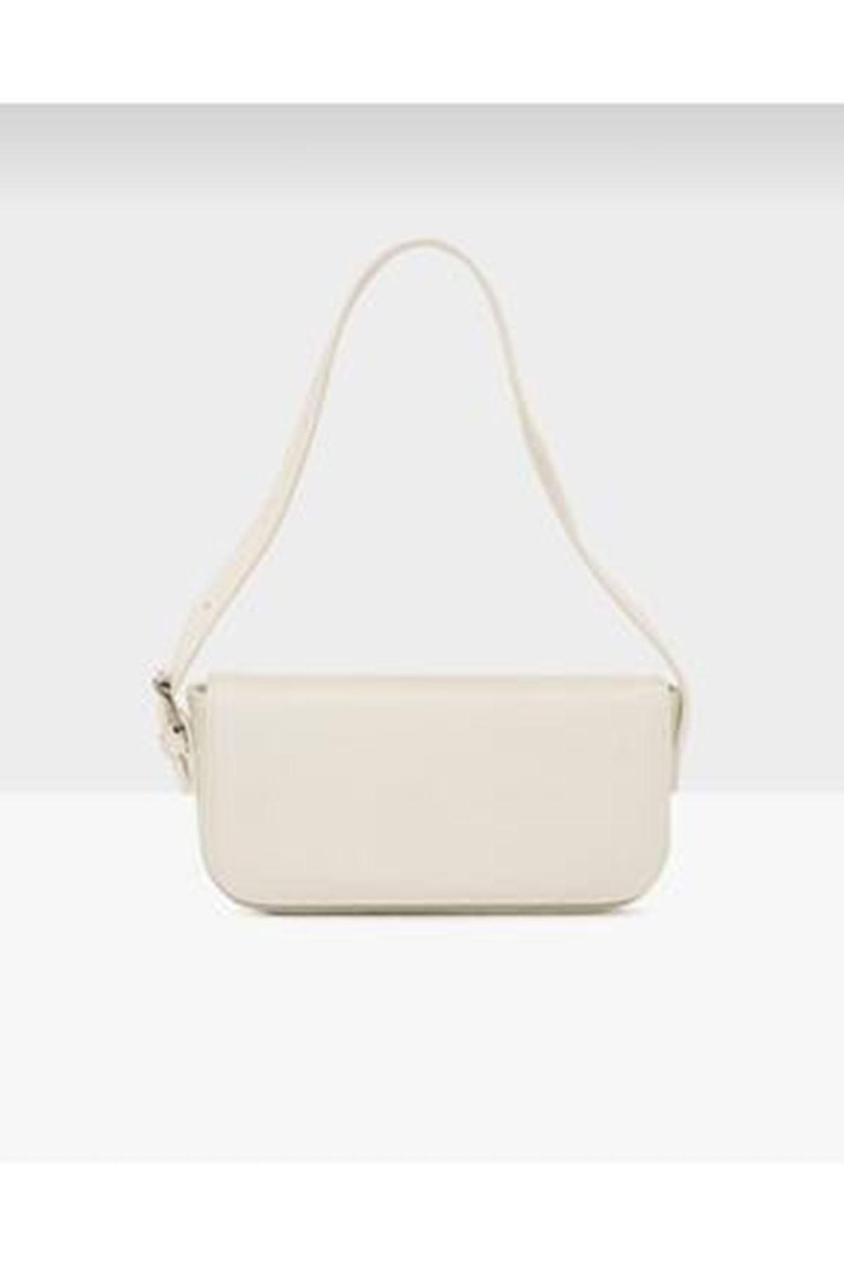 Tarta Bej Cilt Kapaklı Baget Çanta