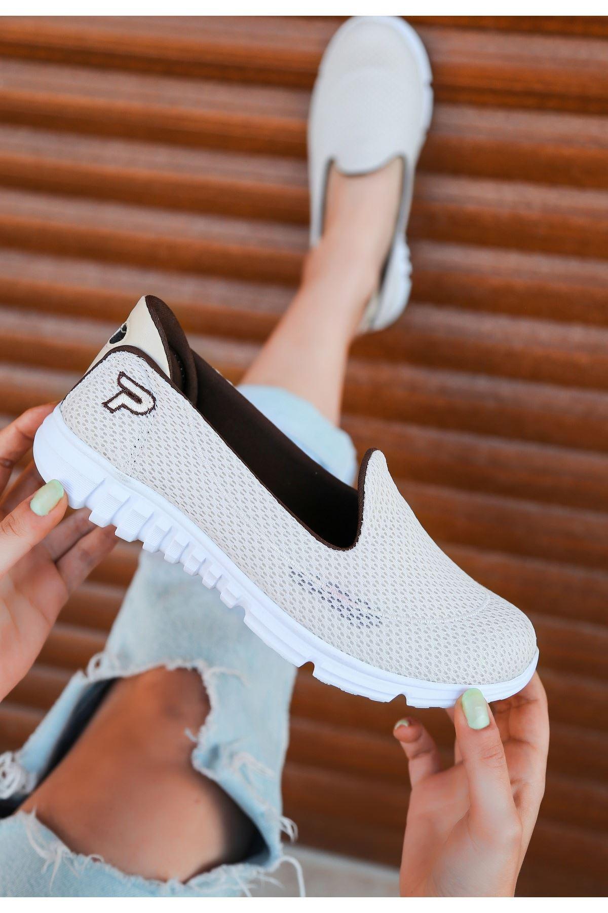 Wian Krem Streç Spor Ayakkabı