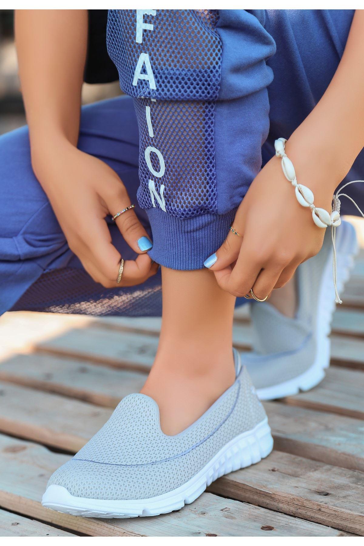 Wian Gri Streç Spor Ayakkabı