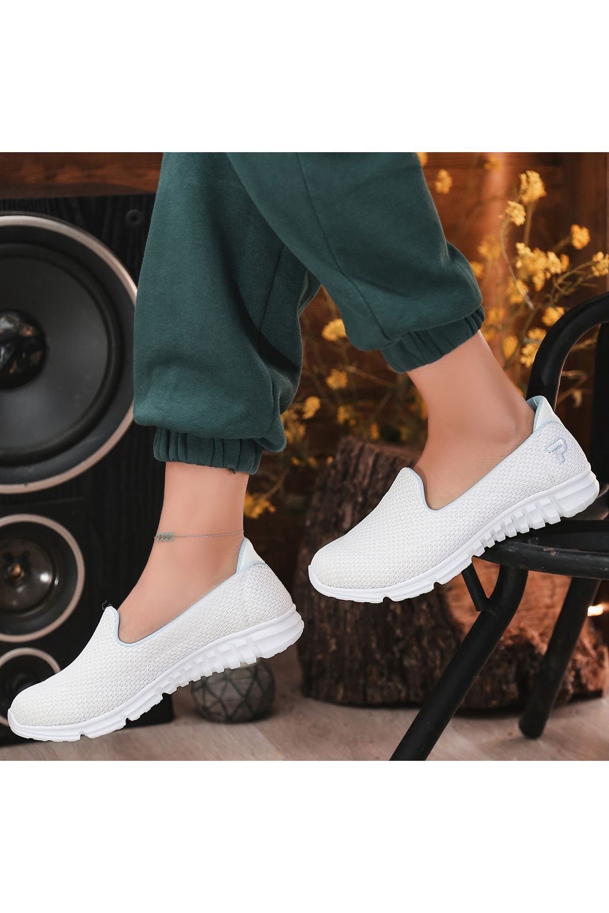 Wian Beyaz Streç Spor Ayakkabı