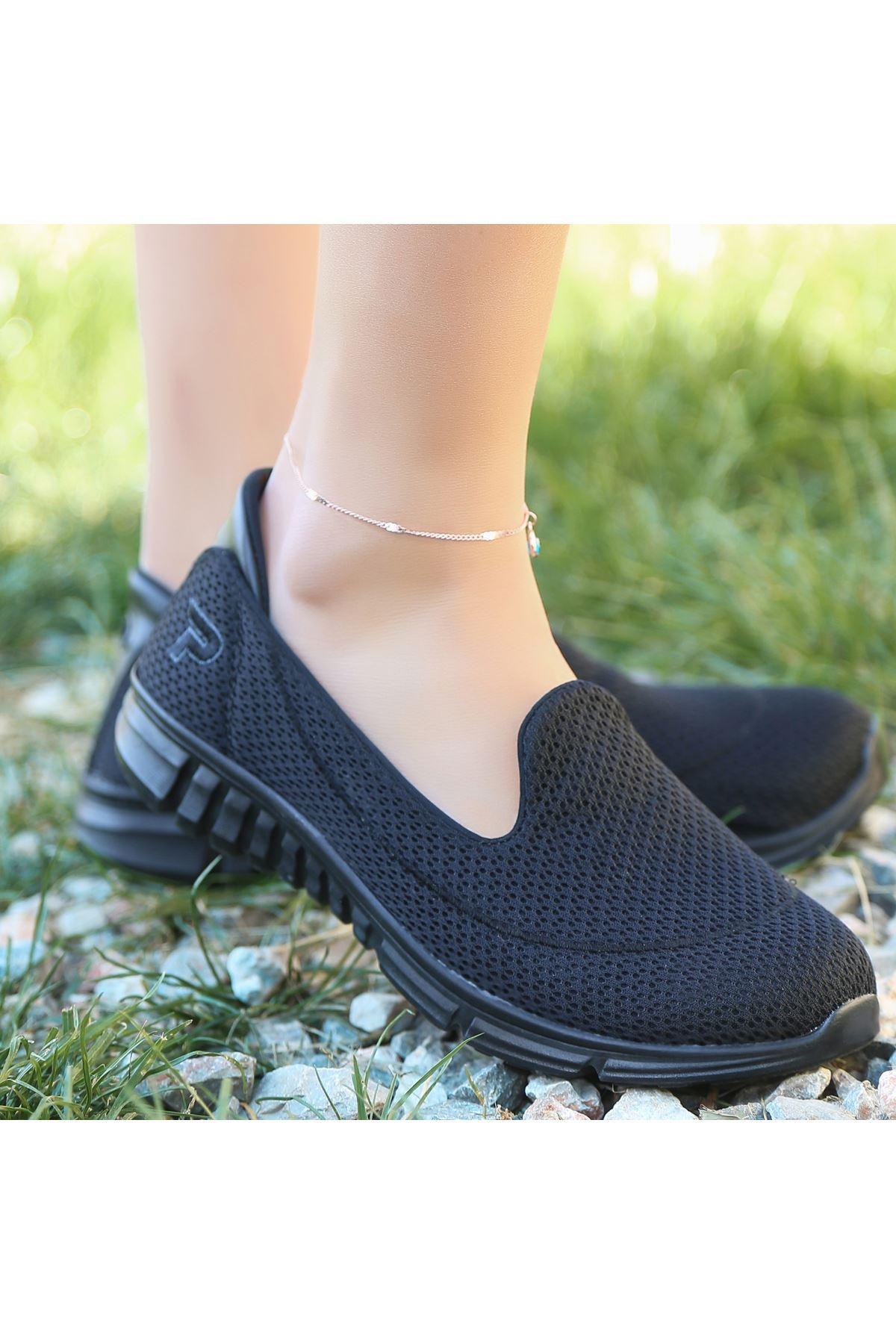 Wian Siyah Streç Spor Ayakkabı
