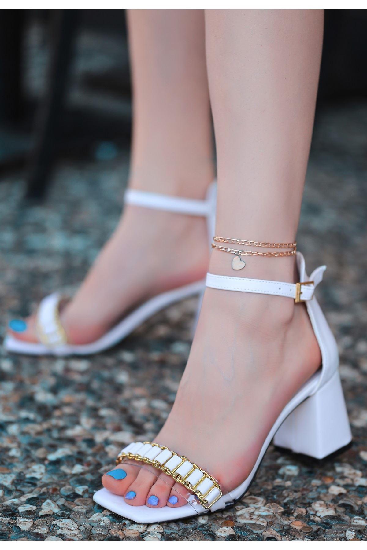 Centi Beyaz Cilt Topuklu Ayakkabı