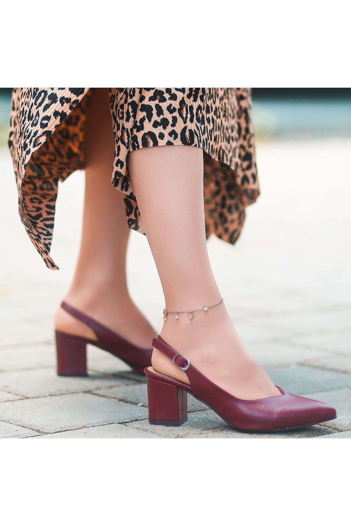 Ziko Bordo Cilt Topuklu Ayakkabı