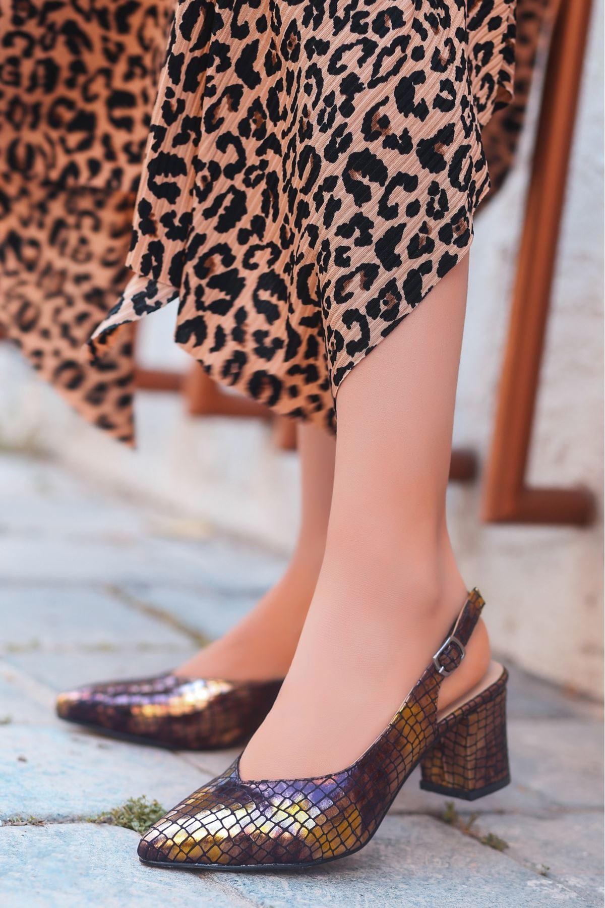 Ziko Kahverengi Cilt Yılan Desenli Topuklu Ayakkabı
