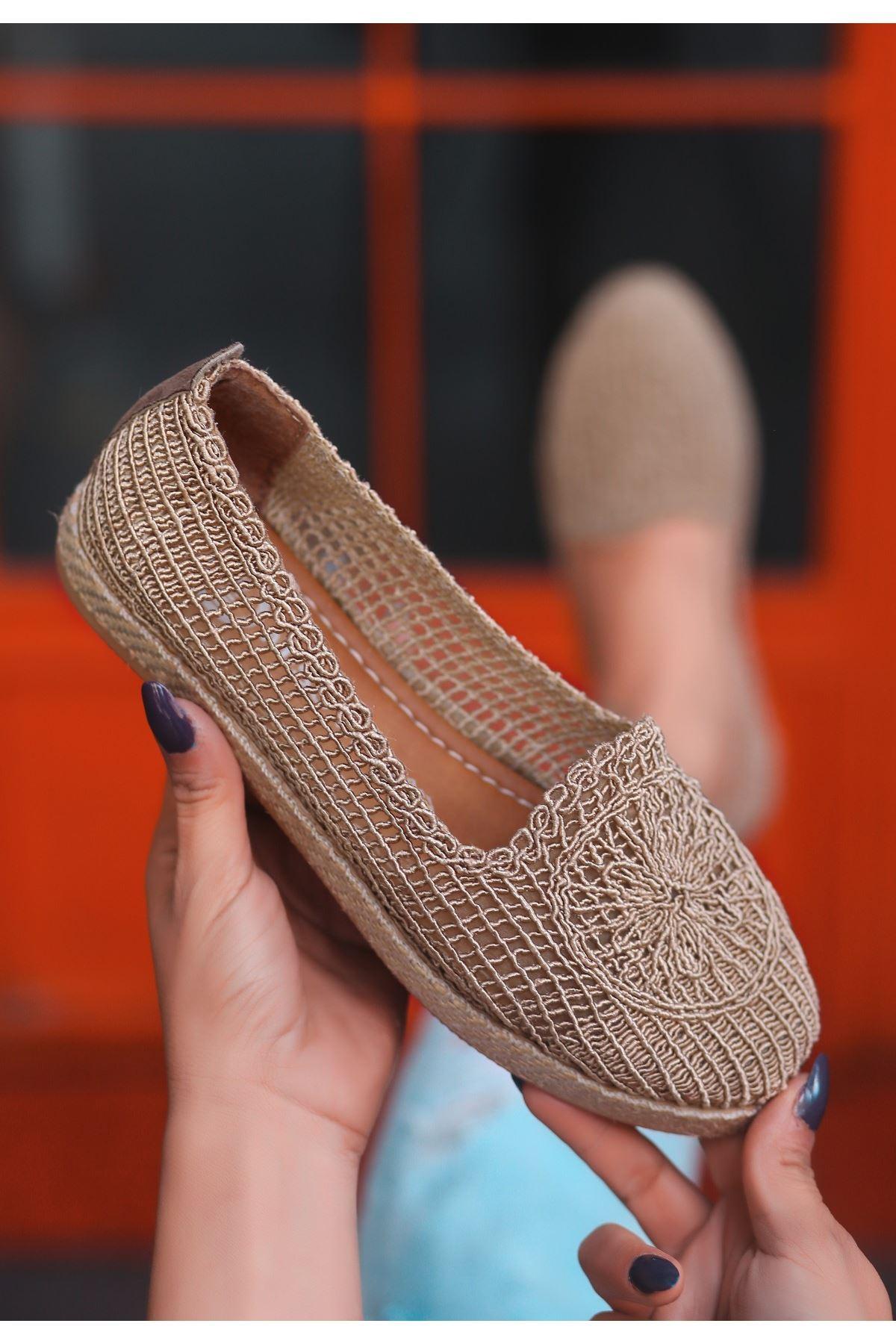 Evic Vizon Örgülü Babet Ayakkabı