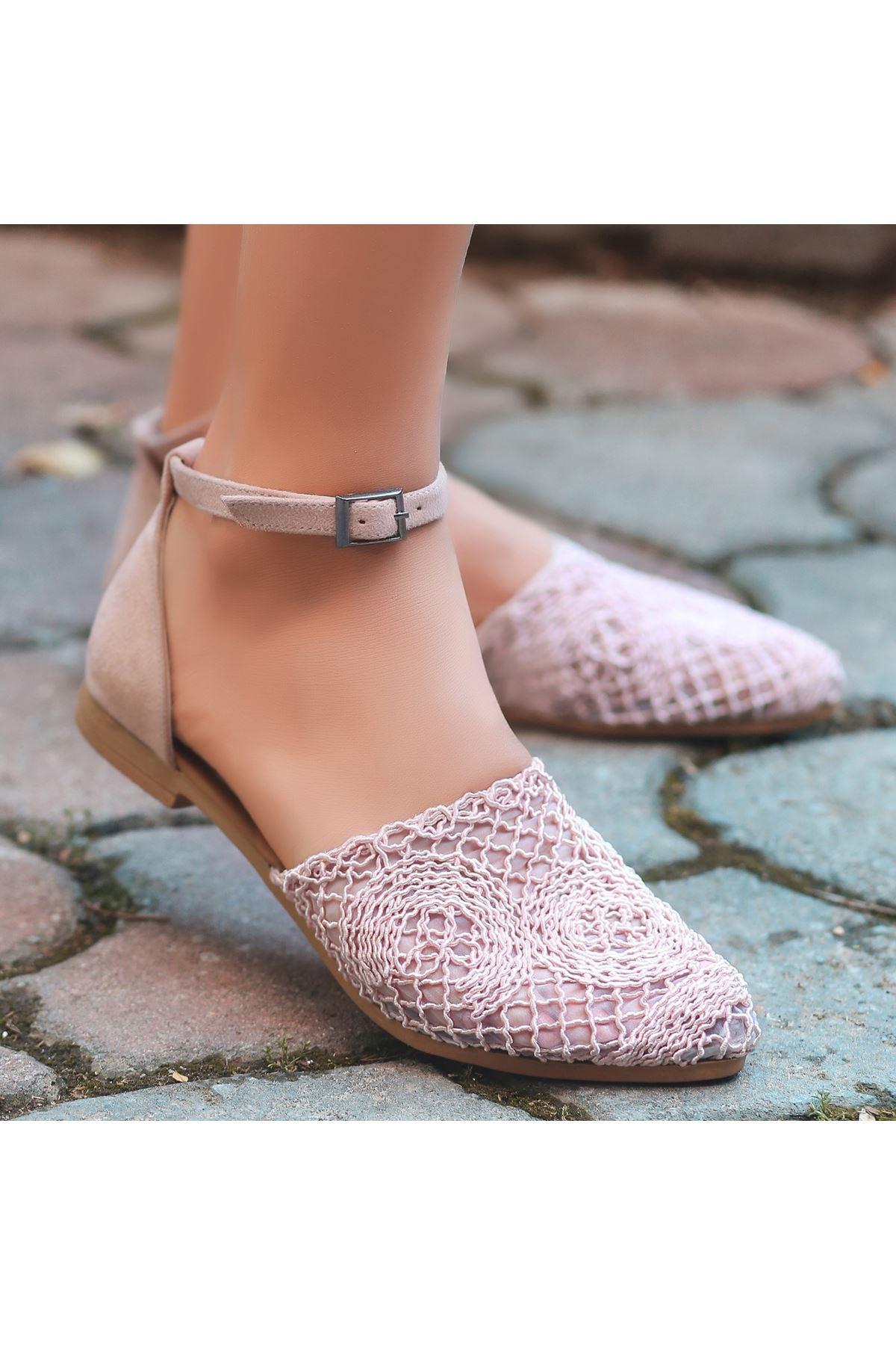 Acir Pudra Örgülü Sandalet