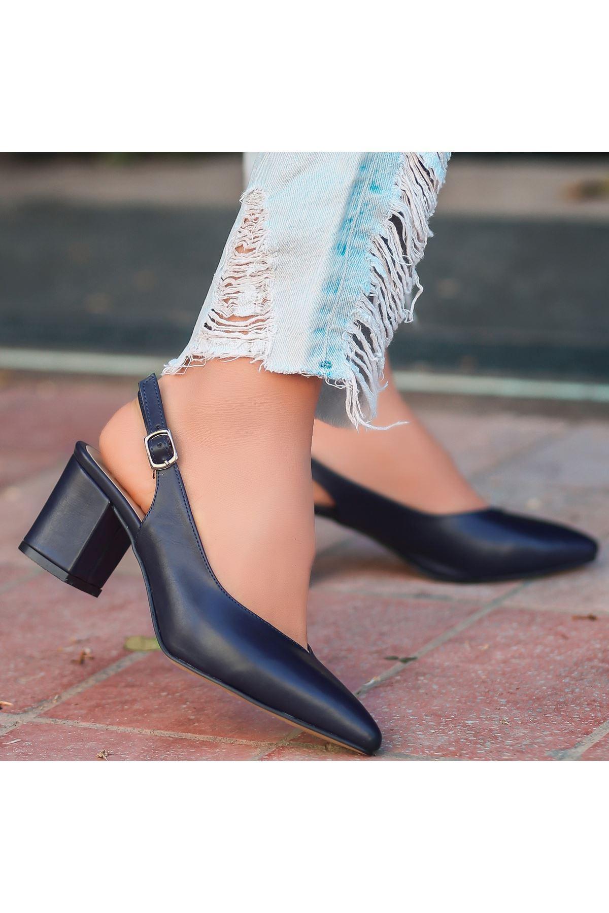 Ziko Lacivert Cilt Topuklu Ayakkabı