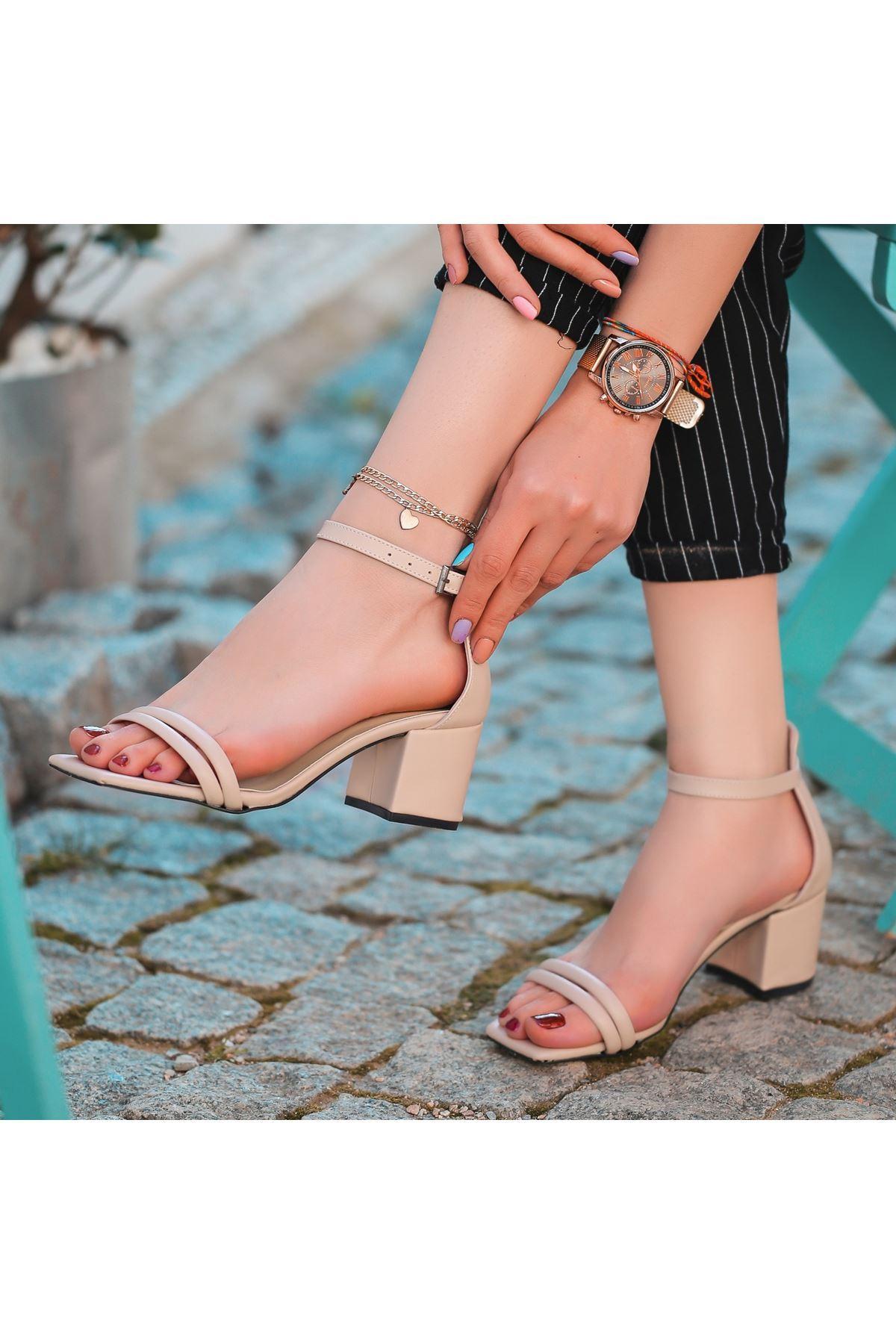 Esgax Vizon Cilt Topuklu Ayakkabı