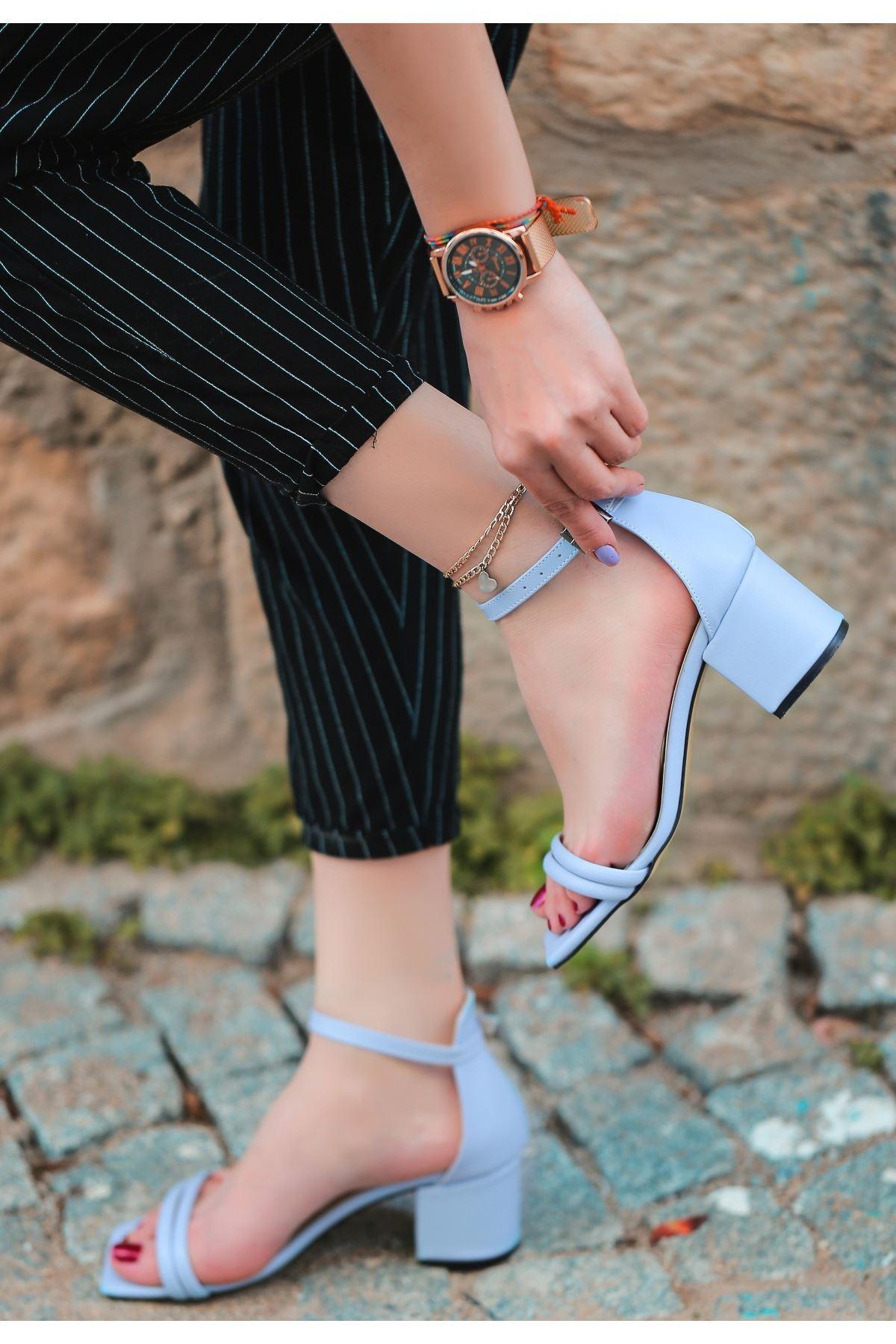 Esgax Bebe Mavisi Cilt Topuklu Ayakkabı