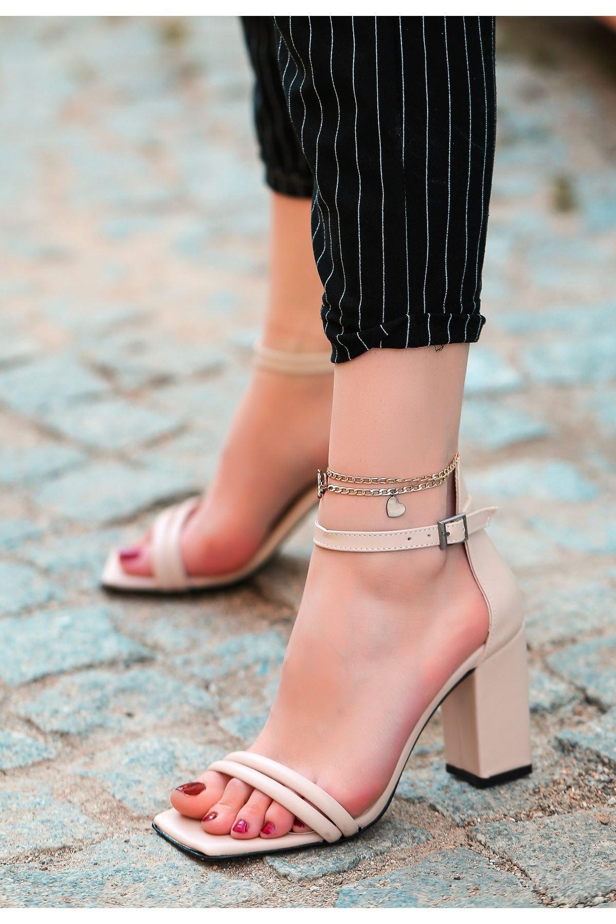 Esga Vizon Cilt Topuklu Ayakkabı