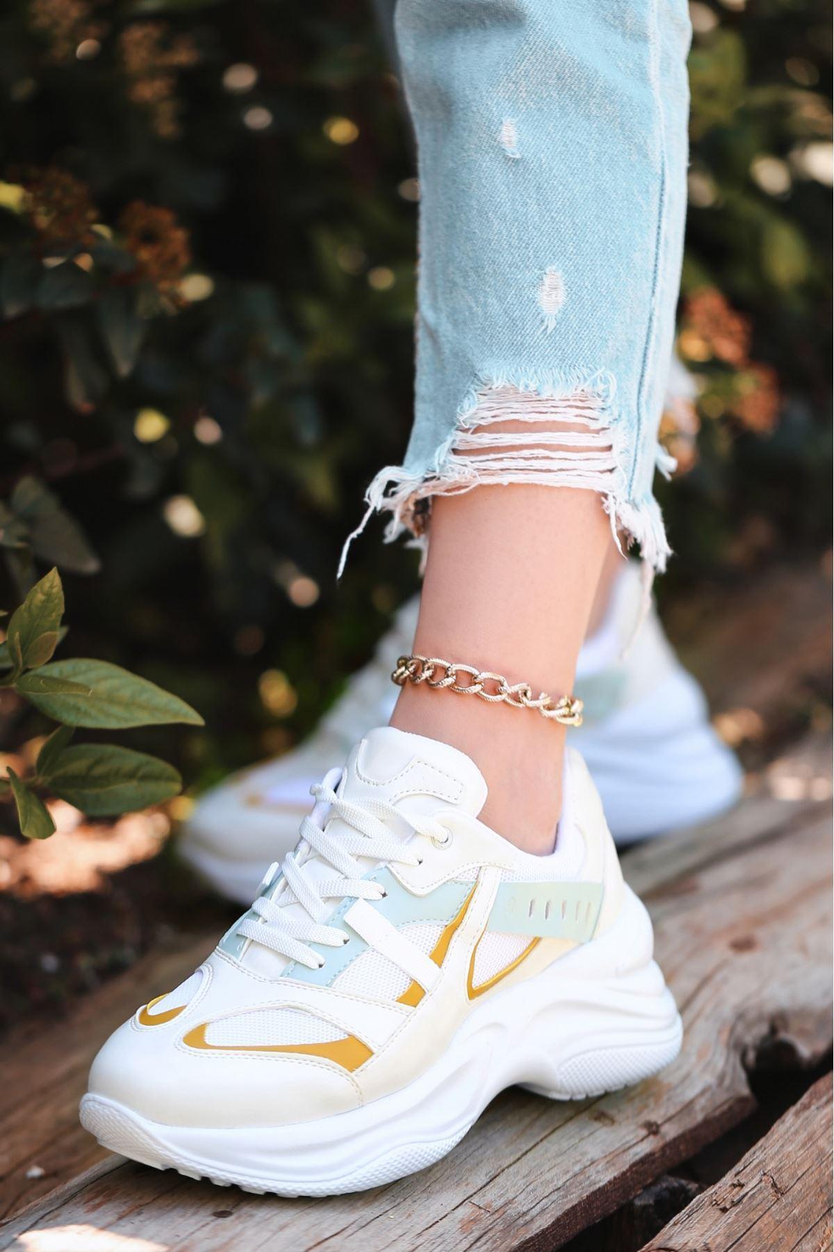 Feym Beyaz Cilt Yeşil Detaylı Spor Ayakkabı