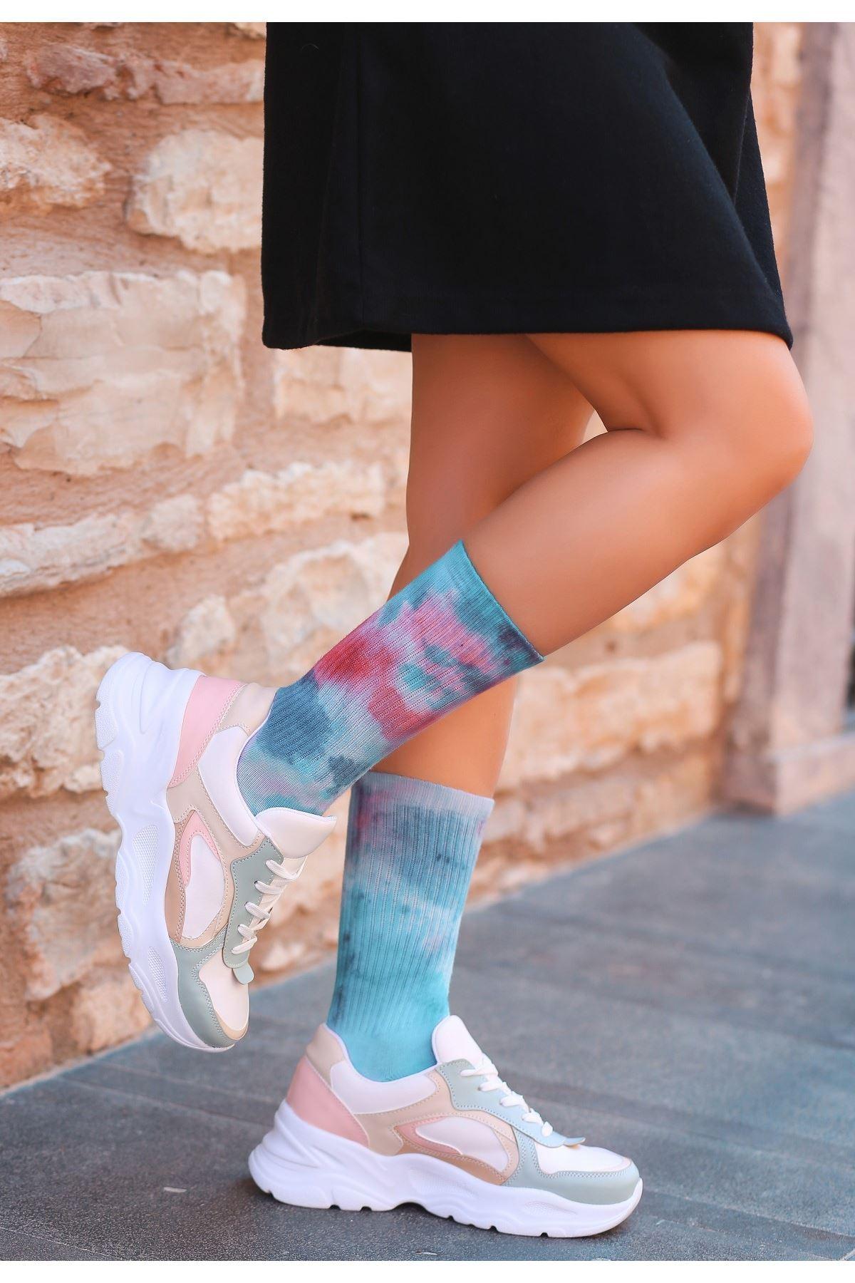 Fuan Yeşil Cilt Vizon Detaylı Bağcıklı Spor Ayakkabı