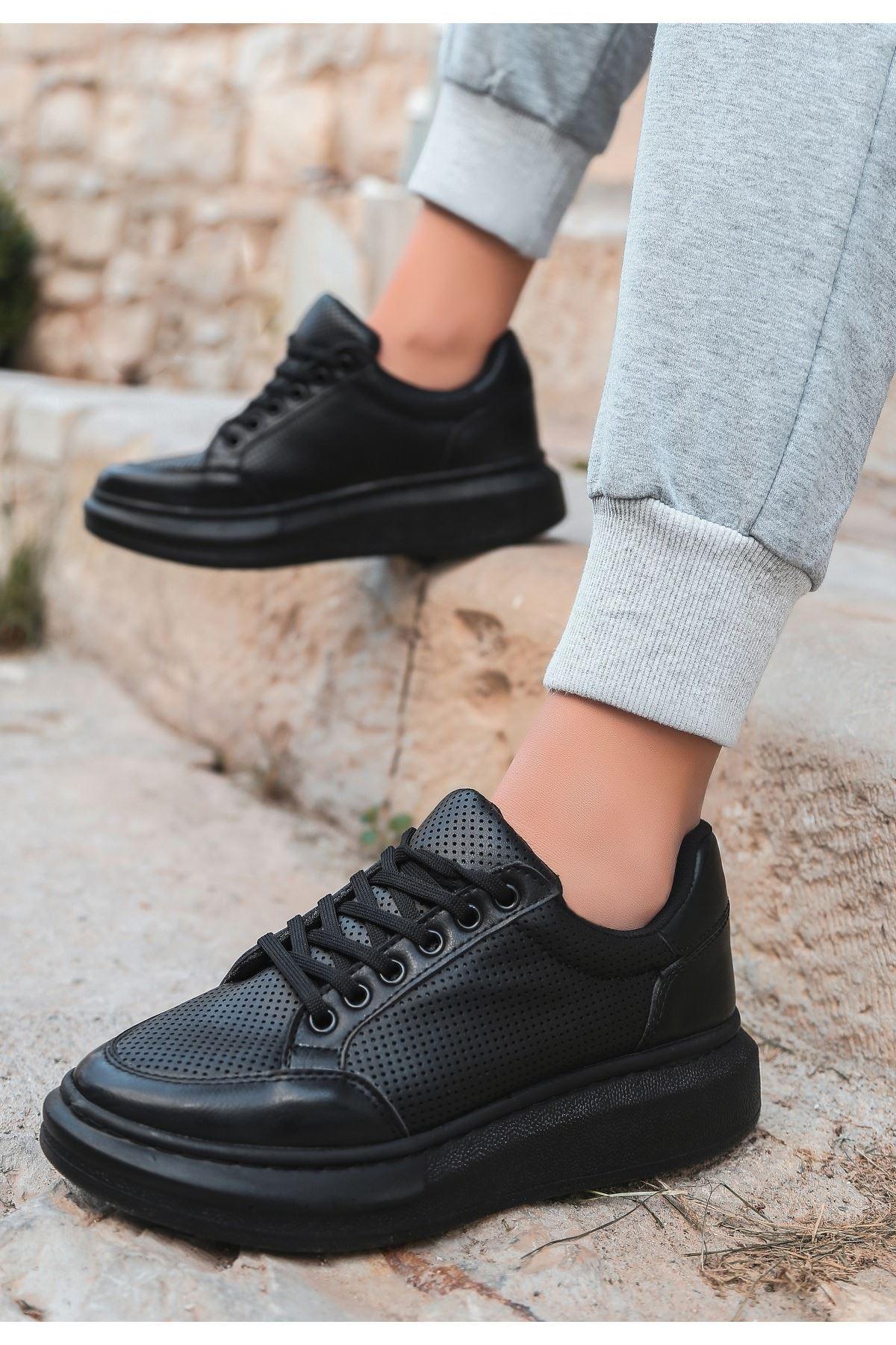 Voni Siyah Cilt Fileli Bağcıklı Spor Ayakkabı