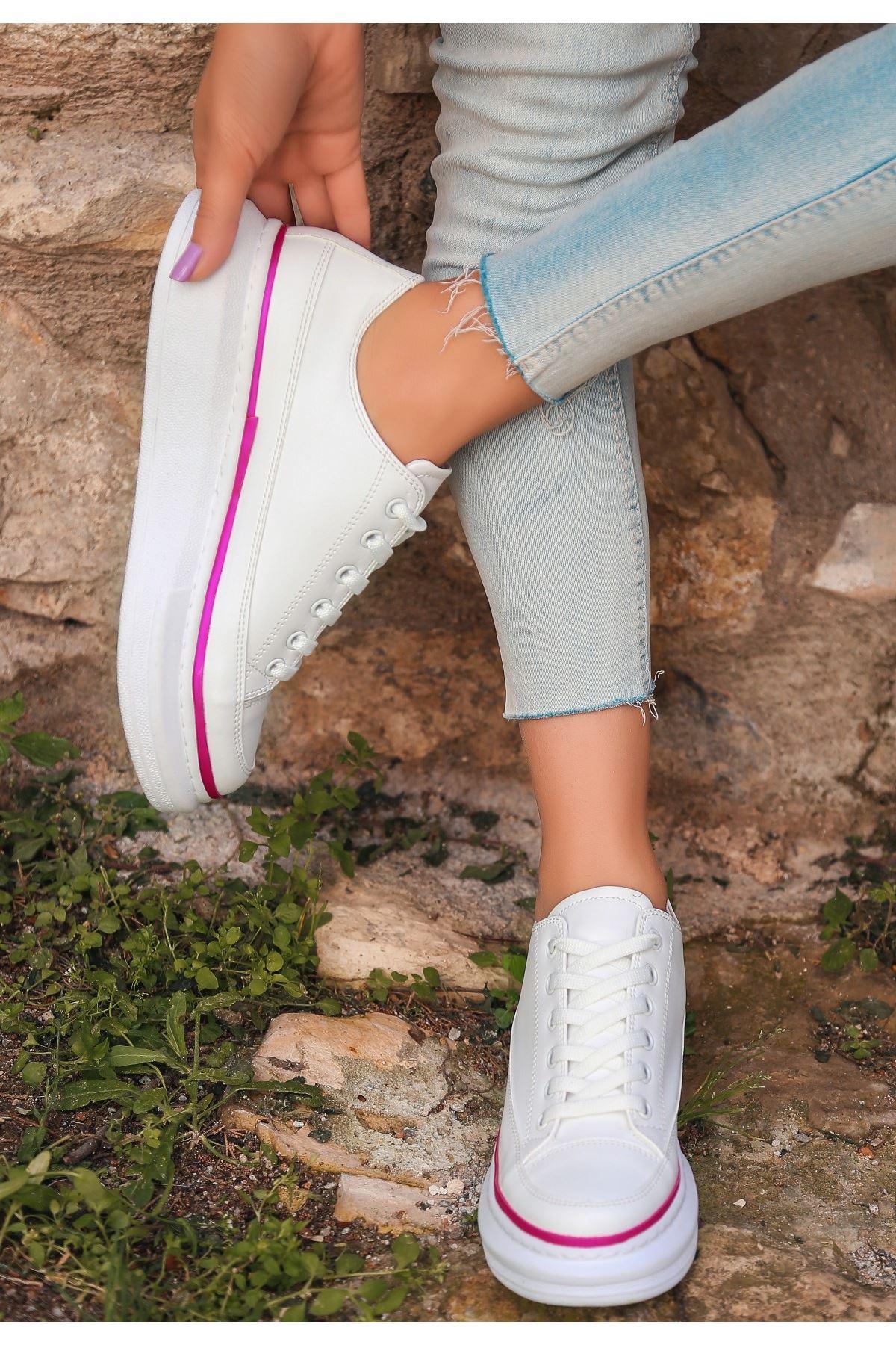 Voni Beyaz Cilt Fuşya Detaylı Spor Ayakkabı