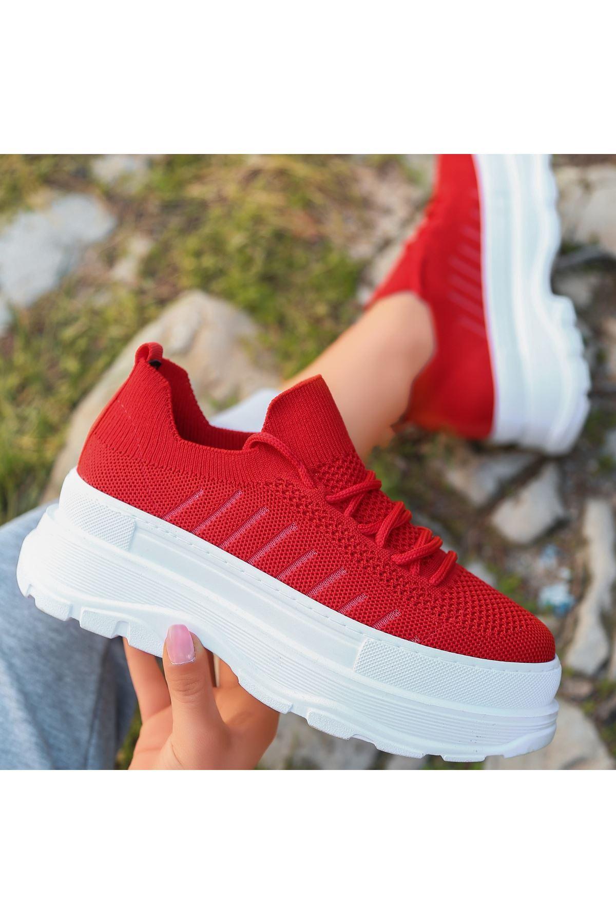 Cosie Kırmızı Triko Bağcıklı Spor Ayakkabı