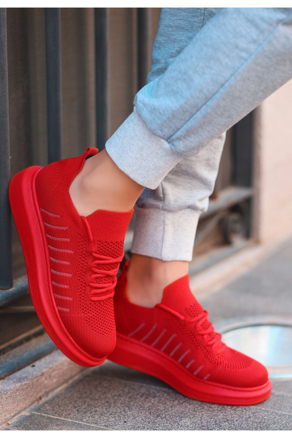 Fidox Kırmızı Triko Bağcıklı Spor Ayakkabı