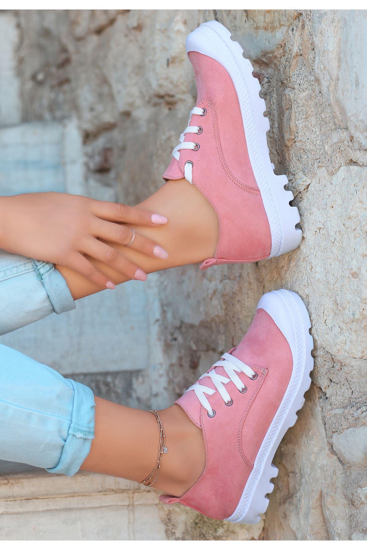 Mash Pudra Süet Bağcıklı Spor Ayakkabı