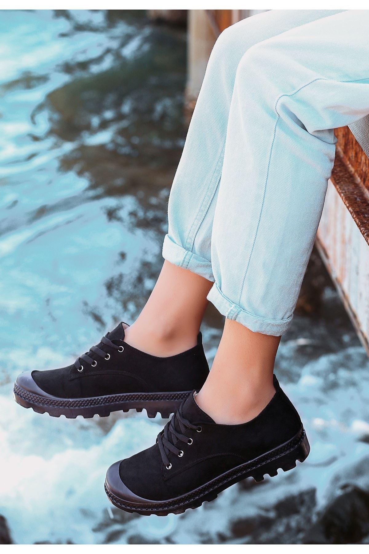 Mash Siyah Süet Bağcıklı Spor Ayakkabı