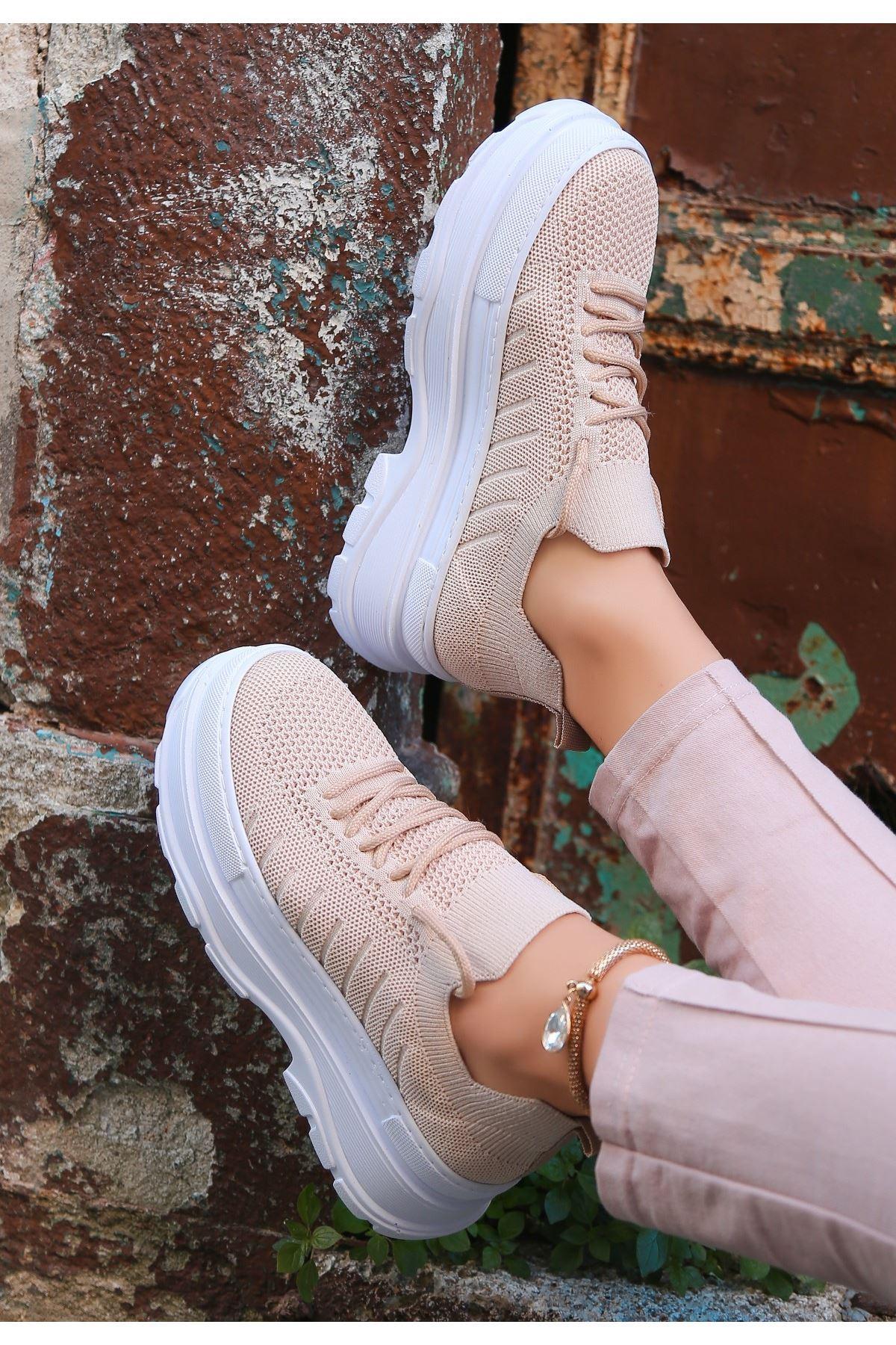 Cosie Krem Triko Bağcıklı Spor Ayakkabı