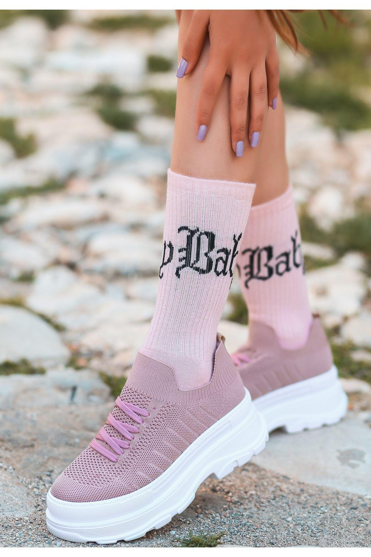 Cosie Pudra Triko Bağcıklı Spor Ayakkabı