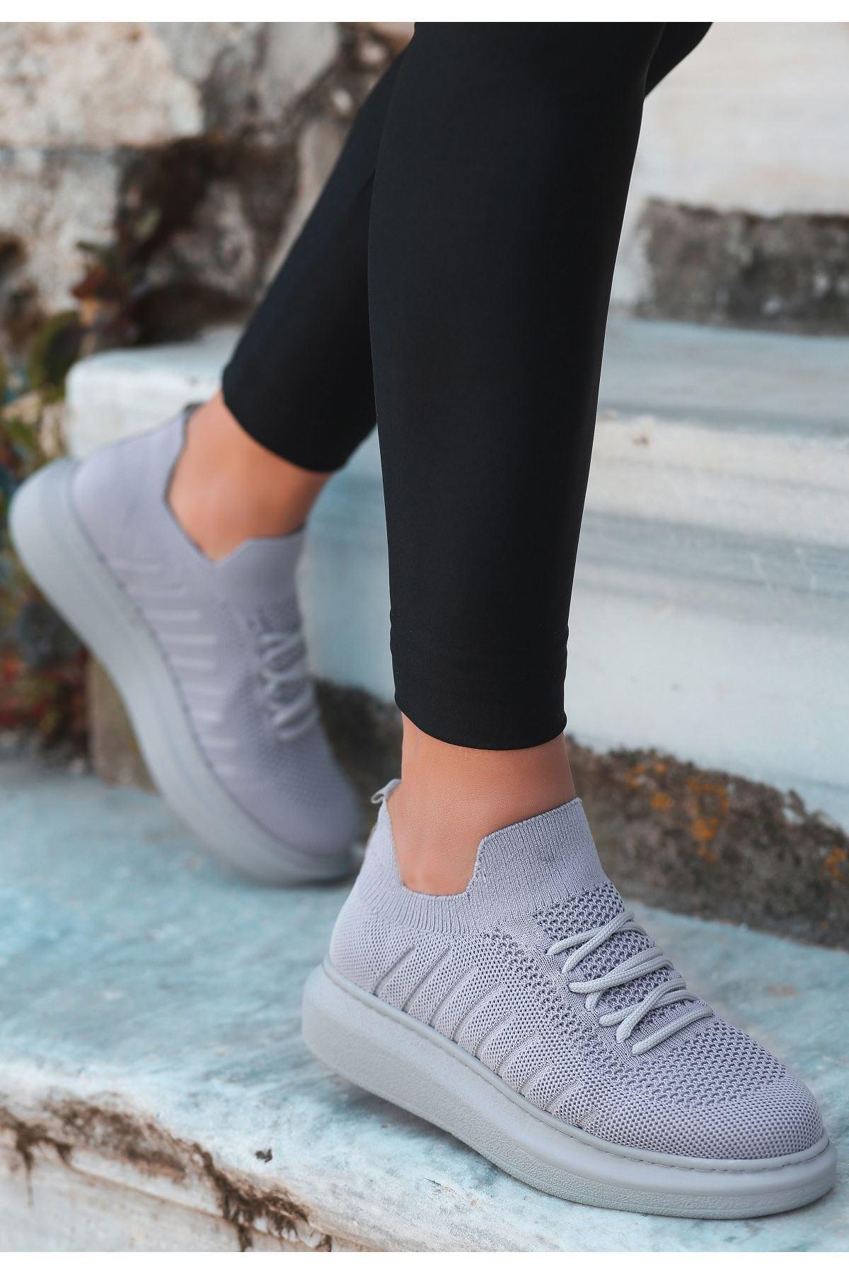 Fidox Gri Triko Bağcıklı Spor Ayakkabı